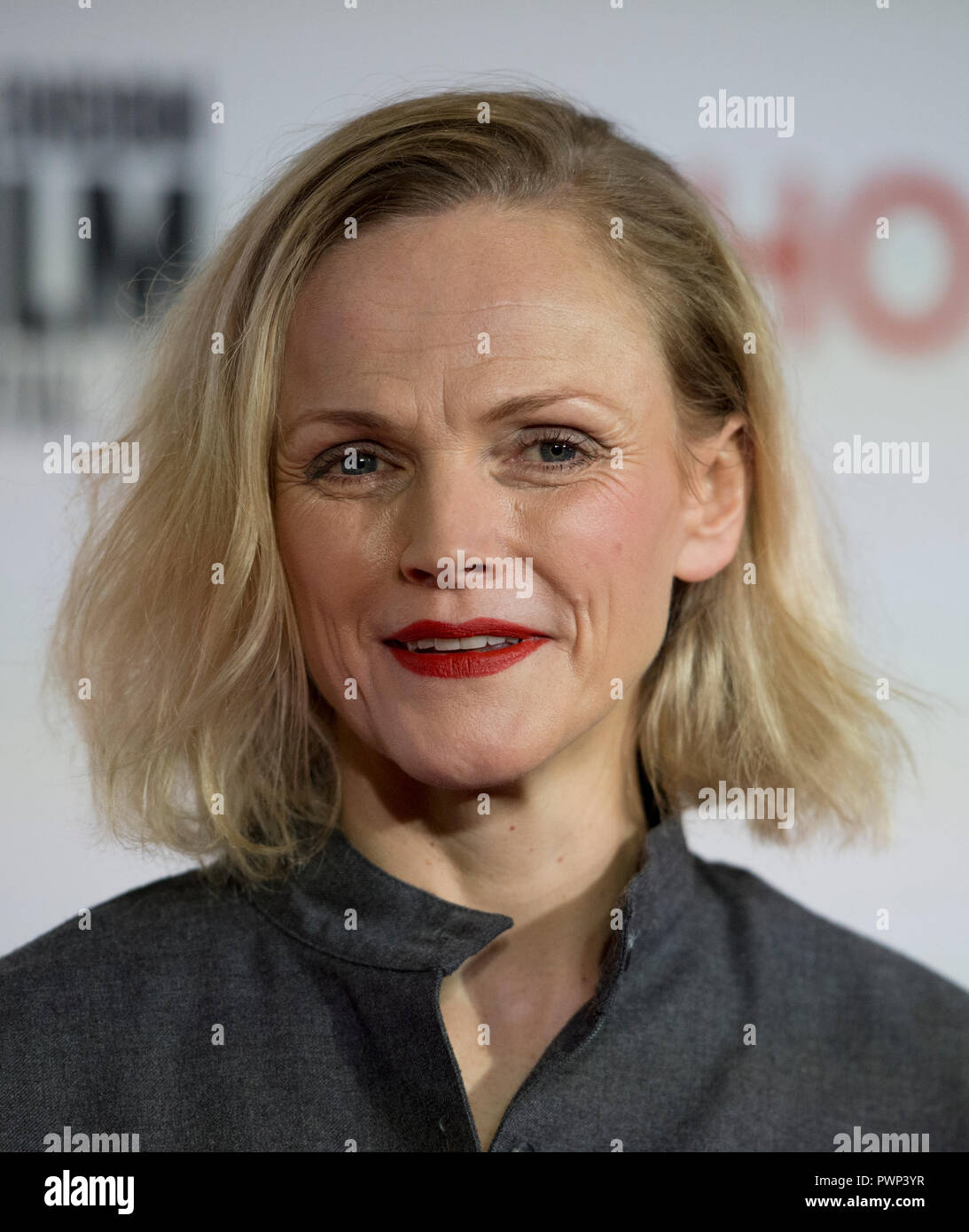 Manchester, UK. 17th October 2018. Actress Maxine Peake who plays the character Nellie arrives at the BFI London Film Festival premiere of Peterloo, at the Home complex in Manchester. Credit: Russell Hart/Alamy Live News - Stock Image