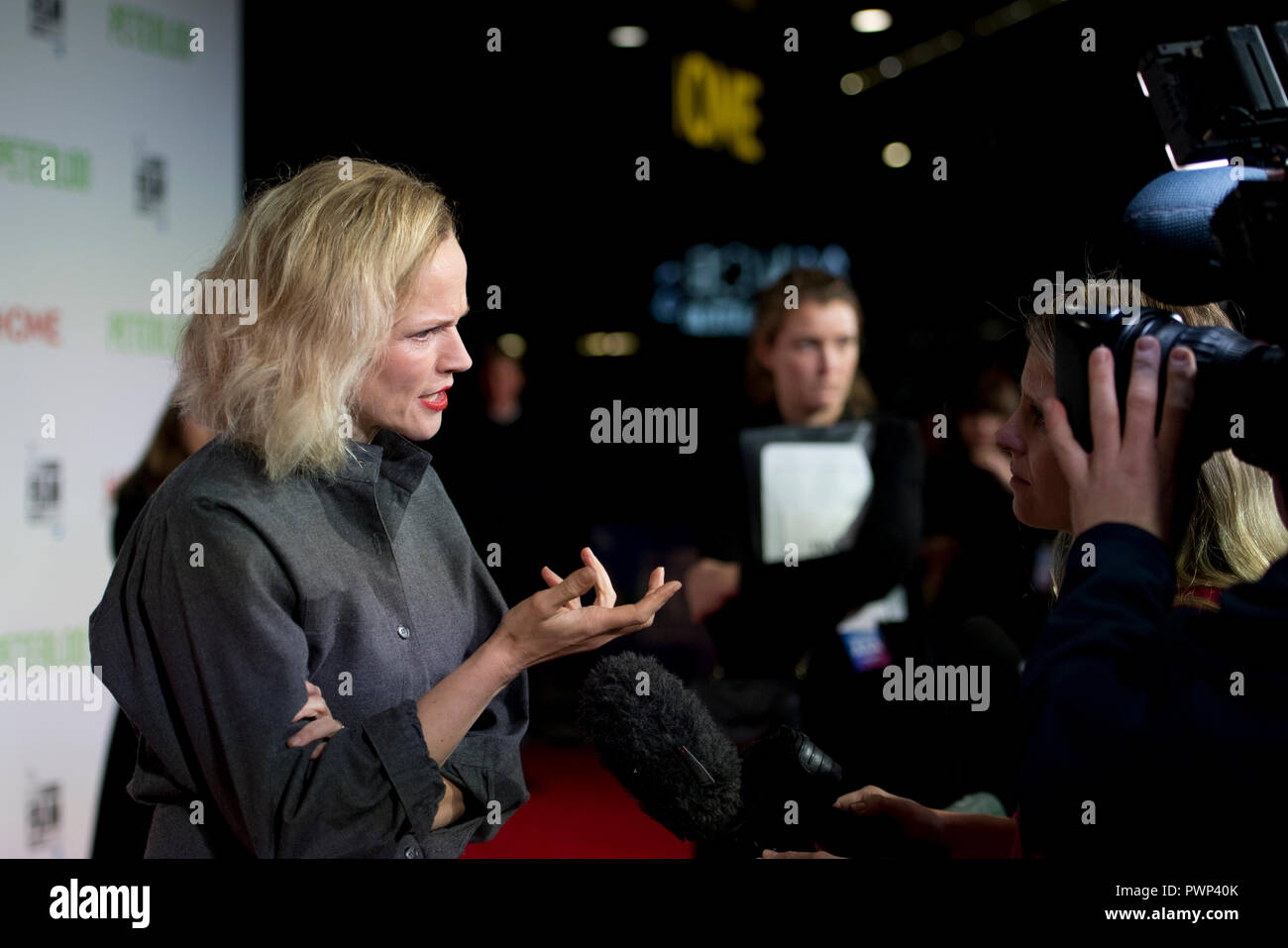 Manchester, UK. 17th October 2018. Actress Maxine Peake who plays the character Nellie speaks to the media at the BFI London Film Festival premiere of Peterloo, at the Home complex in Manchester. Credit: Russell Hart/Alamy Live News - Stock Image