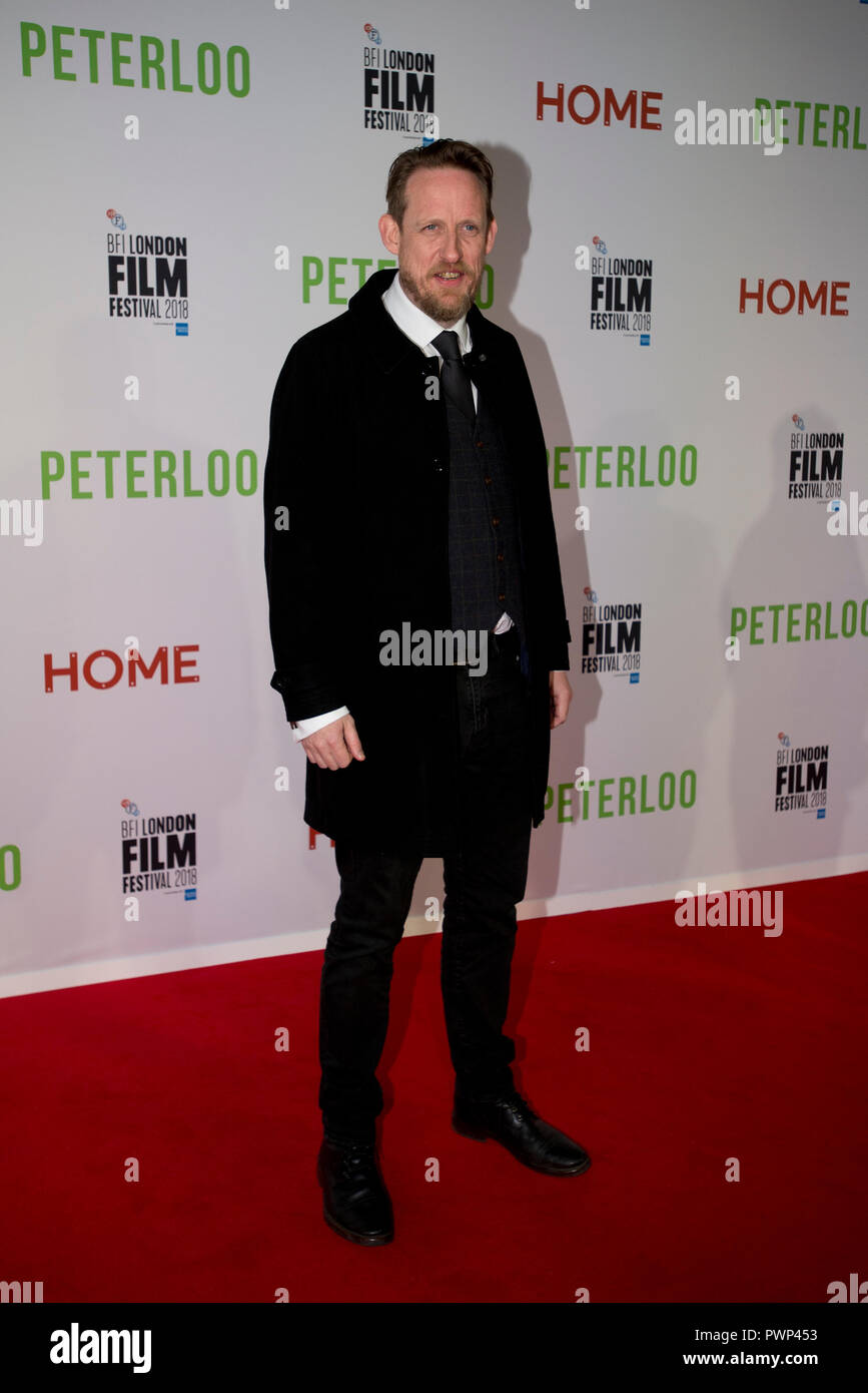 Manchester, UK. 17th October 2018. Actor Neil Bell who plays the character Samuel Bamford arrives at the BFI London Film Festival premiere of Peterloo, at the Home complex in Manchester. Credit: Russell Hart/Alamy Live News - Stock Image