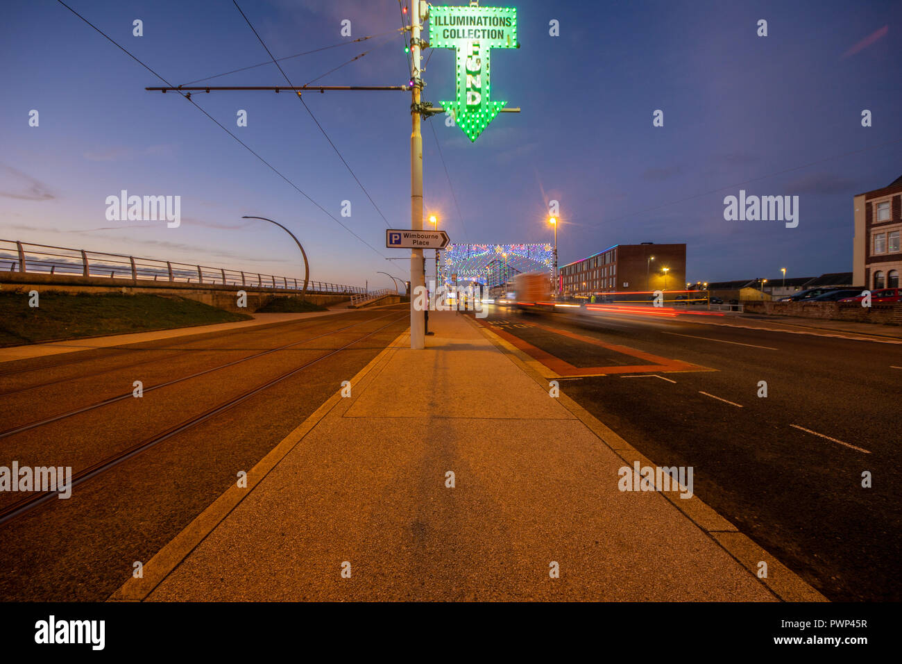 Blackpool, UK. 17th Oct, 2018. Weather news. A beautiful end to the day but with a marked chill in the air. The famous illuminations have struggled in recent years for collections and the midweek traffic lacks the volume of vehicles and visitors to help fund the free show .copyright Credit: gary telford/Alamy Live News - Stock Image