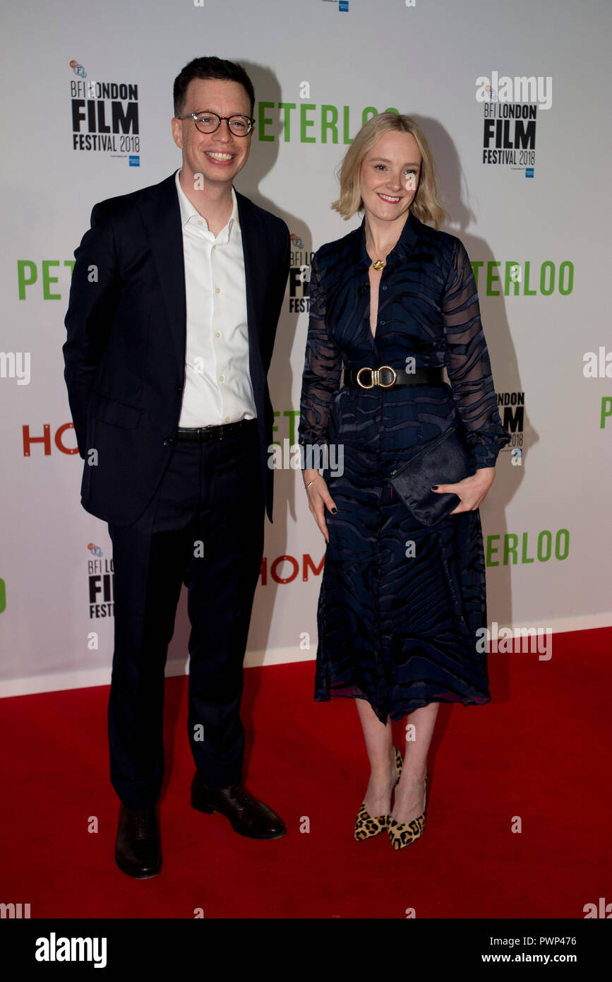 Manchester, UK. 17th October 2018. Actress Rachel Finnegan (right) who plays the character Mary arrives at the BFI London Film Festival premiere of Peterloo, at the Home complex in Manchester. Credit: Russell Hart/Alamy Live News - Stock Image