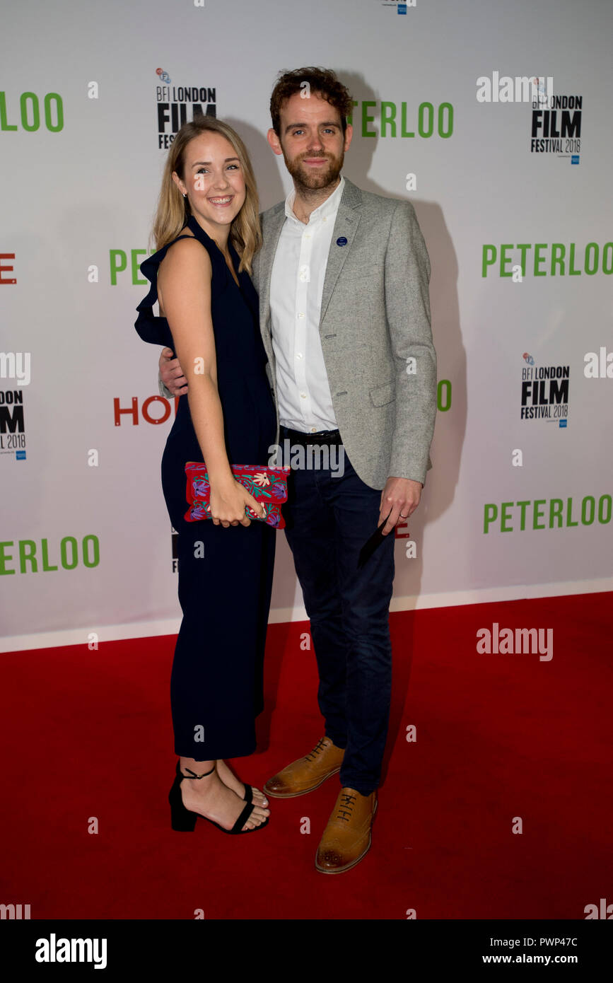 Manchester, UK. 17th October 2018. Actor Tom Meredith (right) who plays the character Robert arrives at the BFI London Film Festival premiere of Peterloo, at the Home complex in Manchester. Credit: Russell Hart/Alamy Live News - Stock Image