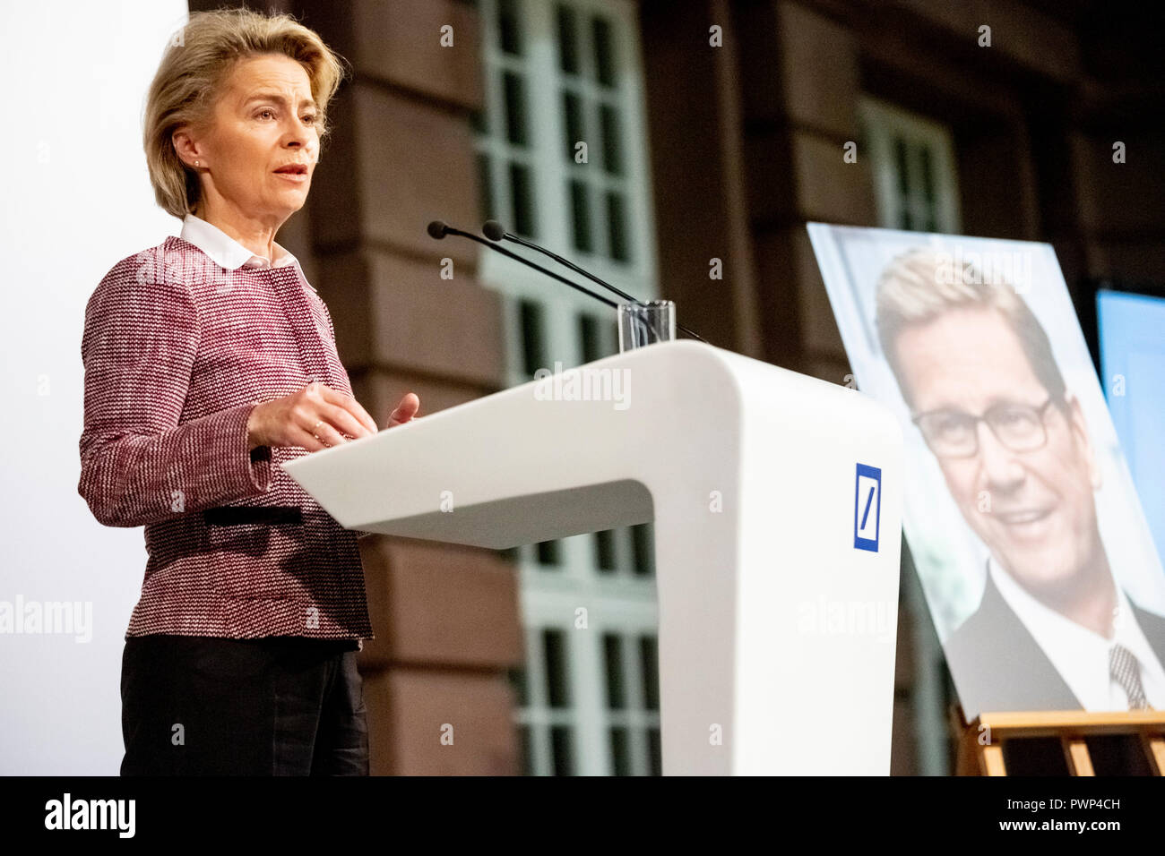 Berlin, Germany. 17th Oct, 2018. 17 October 2018, Germany, Berlin: Ursula von der Leyen (CDU), Federal Minister of Defence, speaks at the posthumous award ceremony of the Rathenau Prize 2018 to Guido Westerwelle. Westerwelle is posthumously honoured by the Walther Rathenau Institute, Foundation for International Politics, 'for his work in the sense of a peaceful world order based on international understanding'. Credit: Christoph Soeder/dpa/Alamy Live News - Stock Image