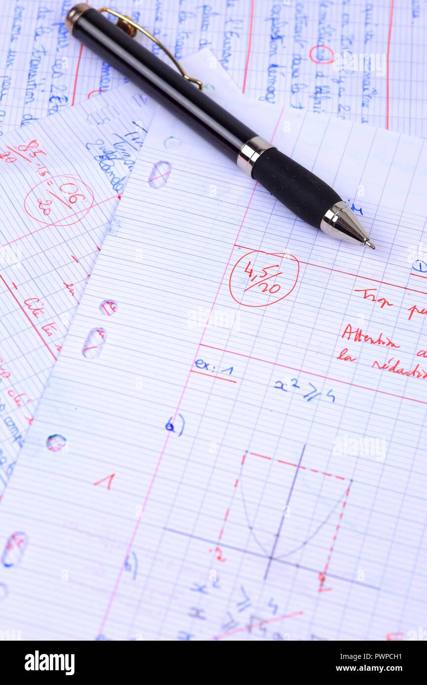 Still life on the topic of mathematics - Stock Image