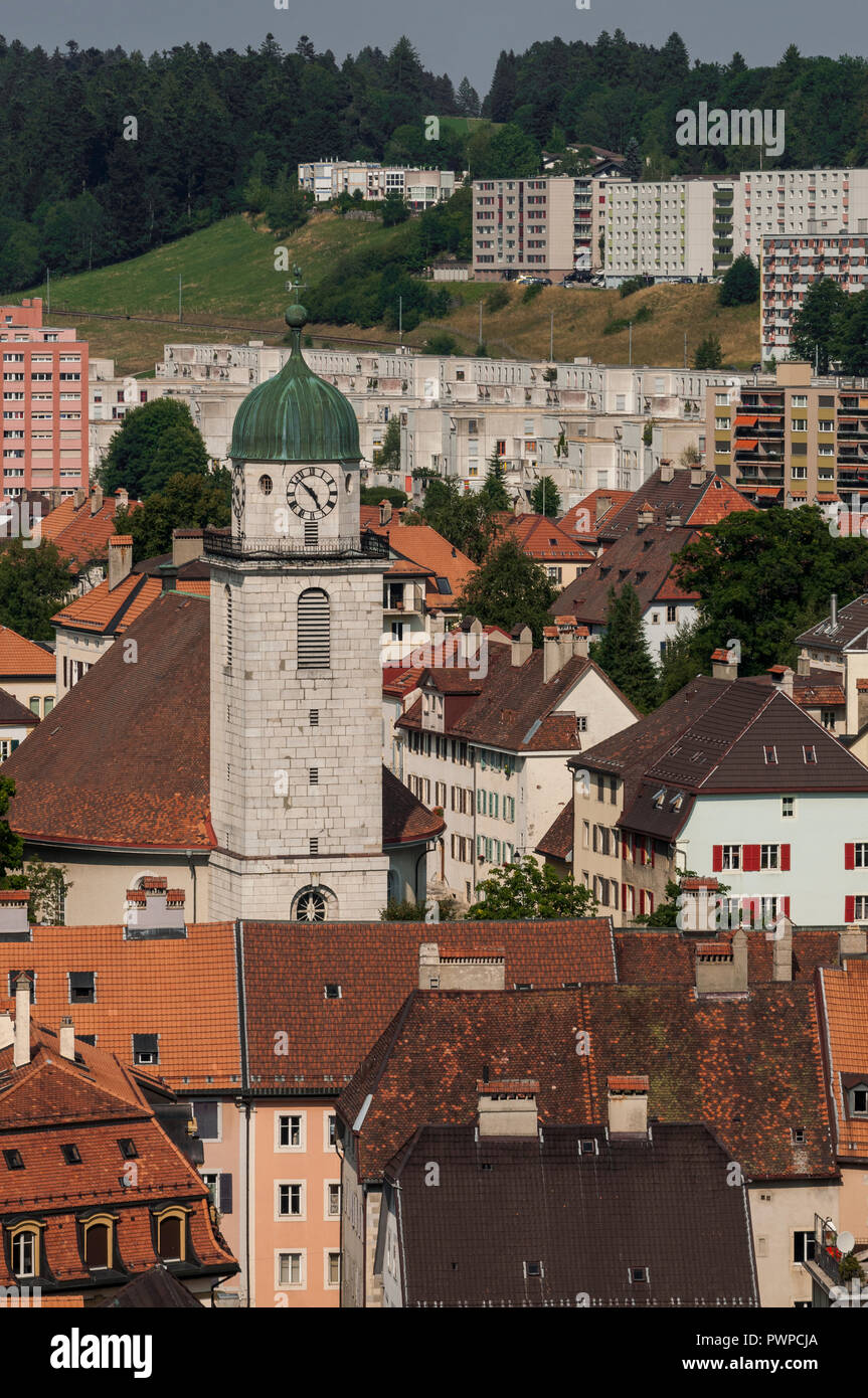 Switzerland, canton of Neuchatel, downtown La-Chaux-de-Fonds from the top of the Espacecite tower - Stock Image