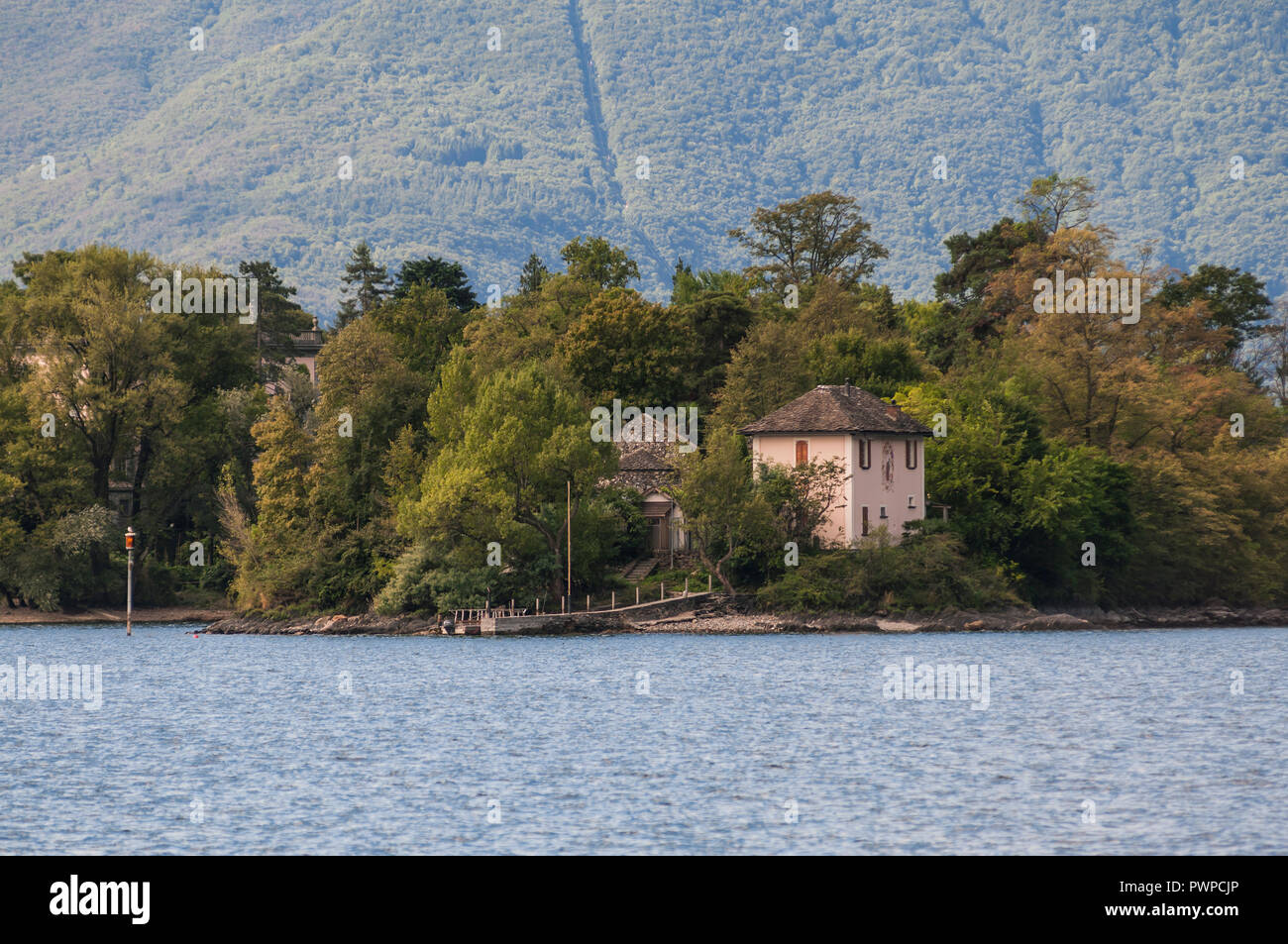 Switzerland, Ticino canton, Brissago islands, Saint Apollinaire island, the smallest and uninhabited one, seen from the boat coming from Ascona Stock Photo