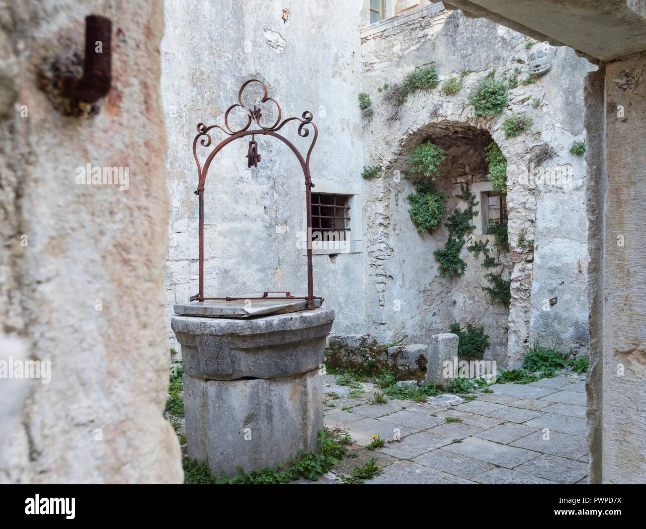 Remains of old town Krsan in Istria Croatia Europe - Stock Image
