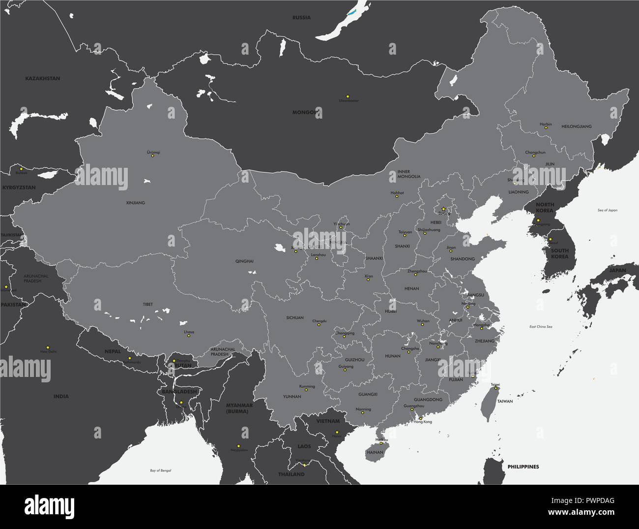 Black and white map of China vector illustration for your design - Stock Vector