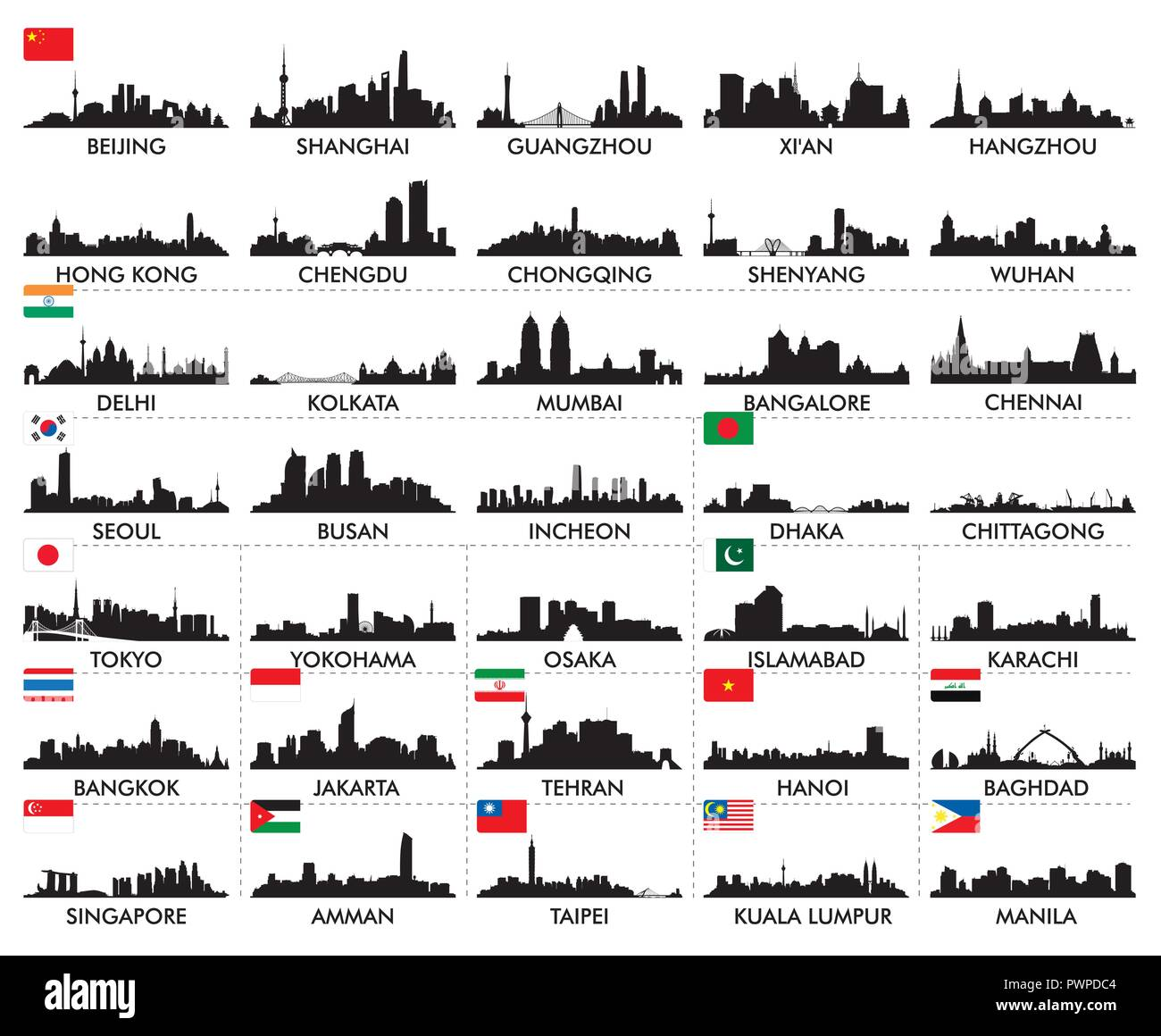 Skyline of Asian Cities big set of vector city silhouettes Stock Vector