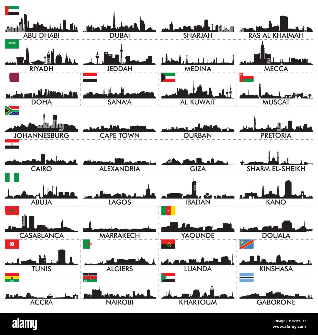 City skyline The Arabian Peninsula and Africa big set of vector city silhouettes - Stock Vector