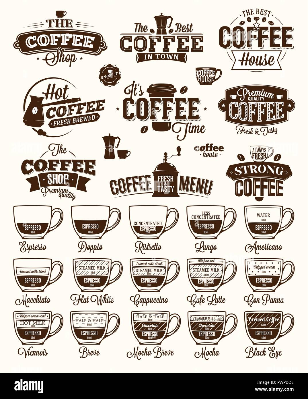 coffee label logo and menu template for your logo design stock