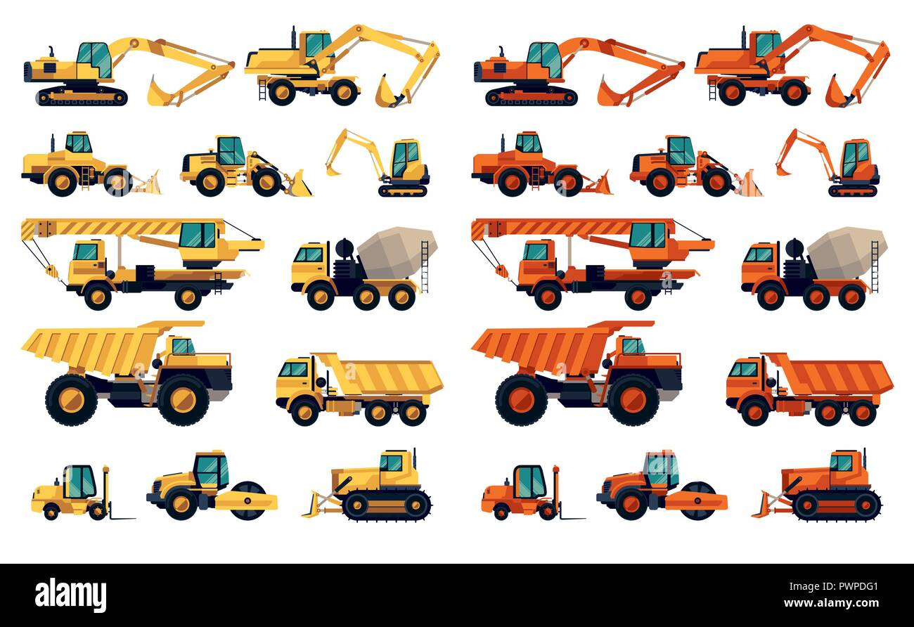 Flat design set of construction machinery and equipment detailed vector illustration - Stock Vector