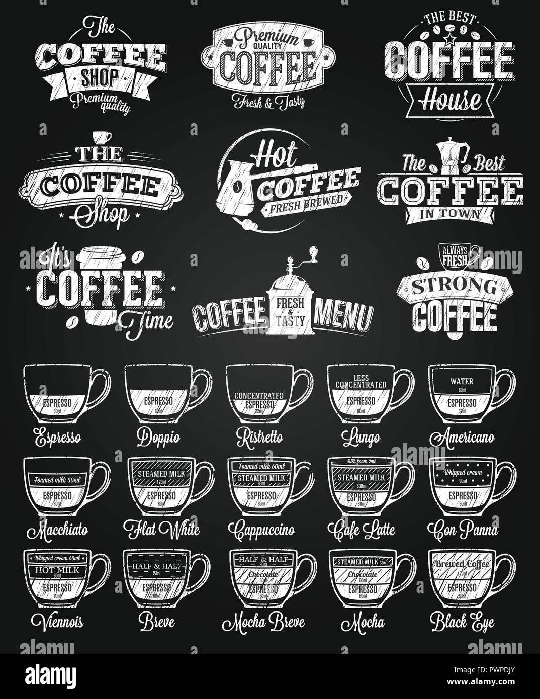 coffee label logo and menu chalk drawing template for your logo