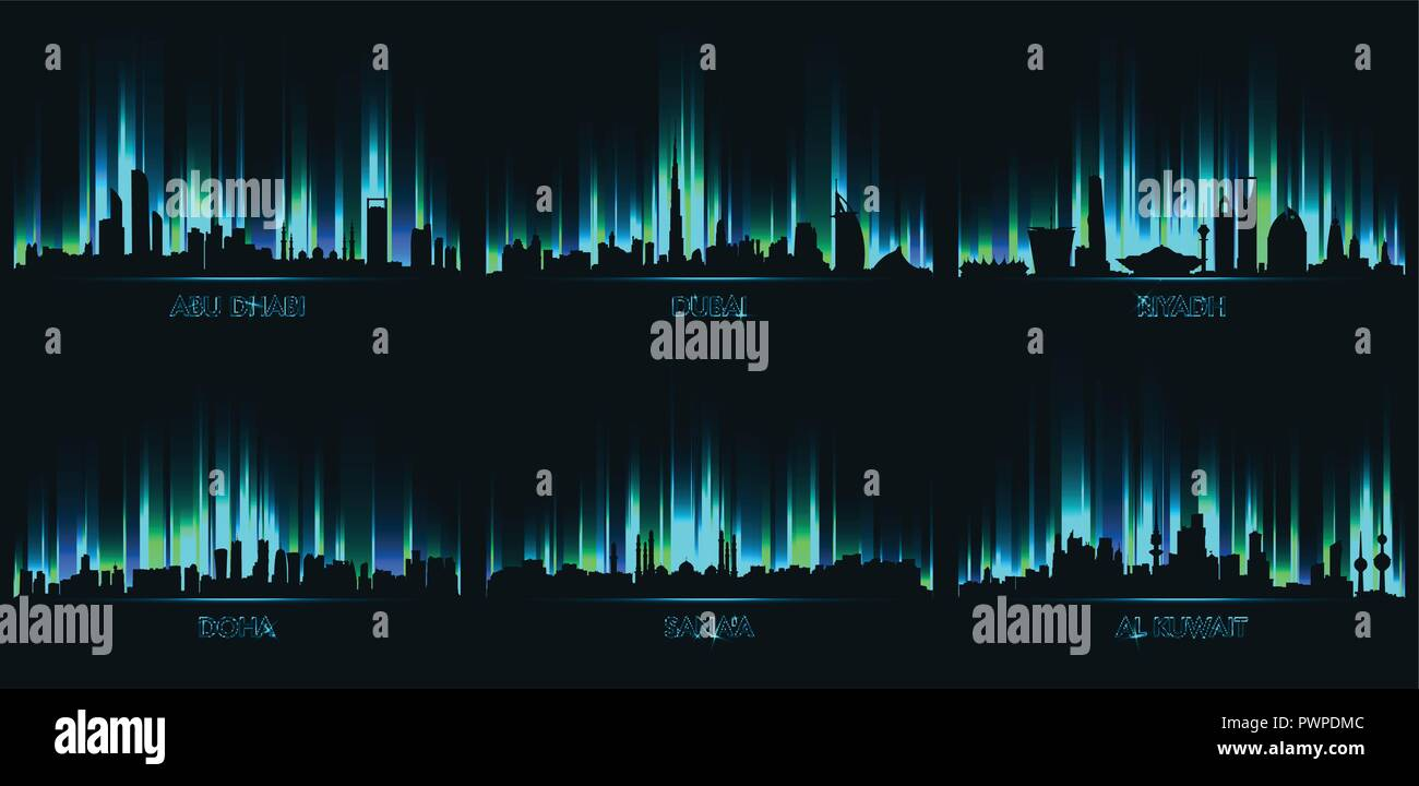 Neon сity skyline Abu Dhabi, Dubai, Riyadh, Doha, Sanaa, Al Kuwait set of vector city silhouettes - Stock Vector