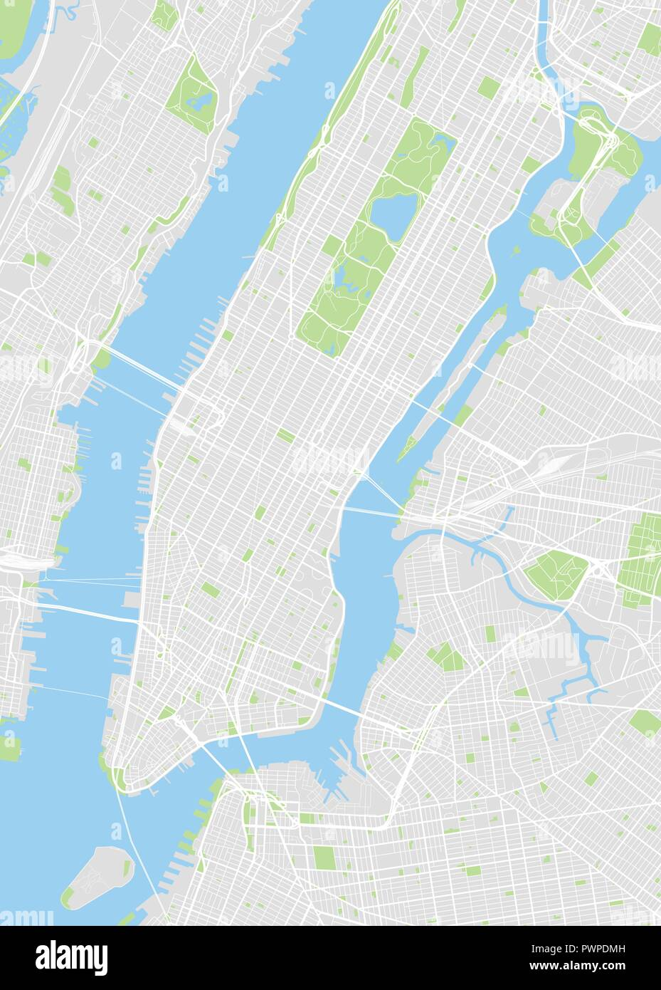 Map Of New York Rivers.New York Colored Vector Map Detailed Plan Of The City Rivers And