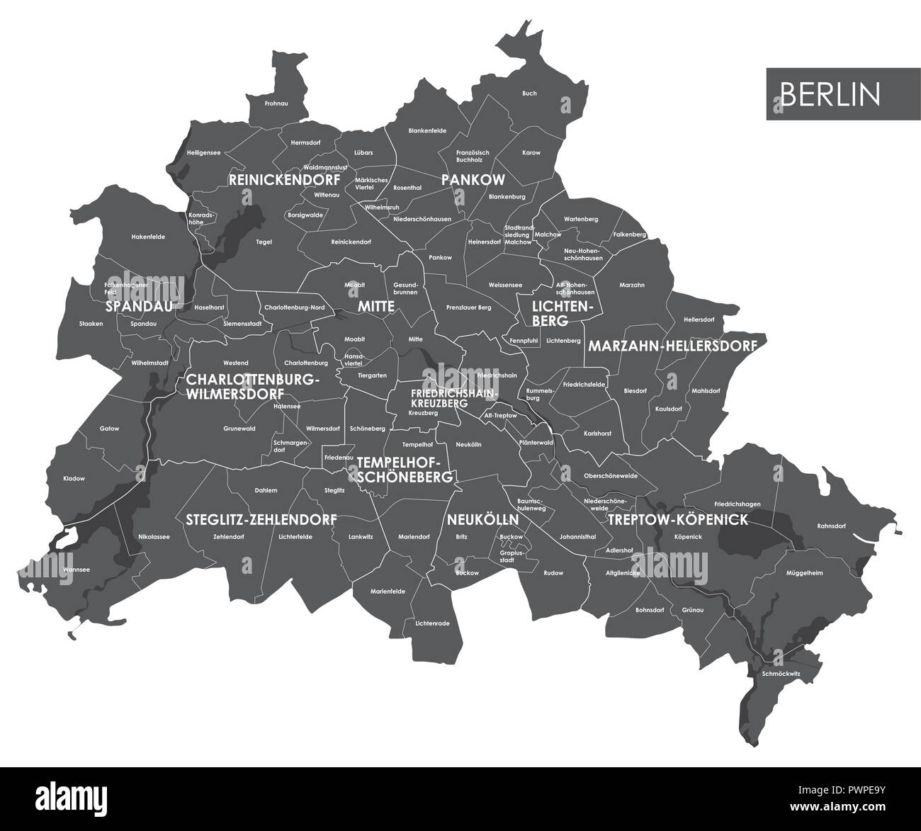 Vector map Berlin district detailed plan of the city ...