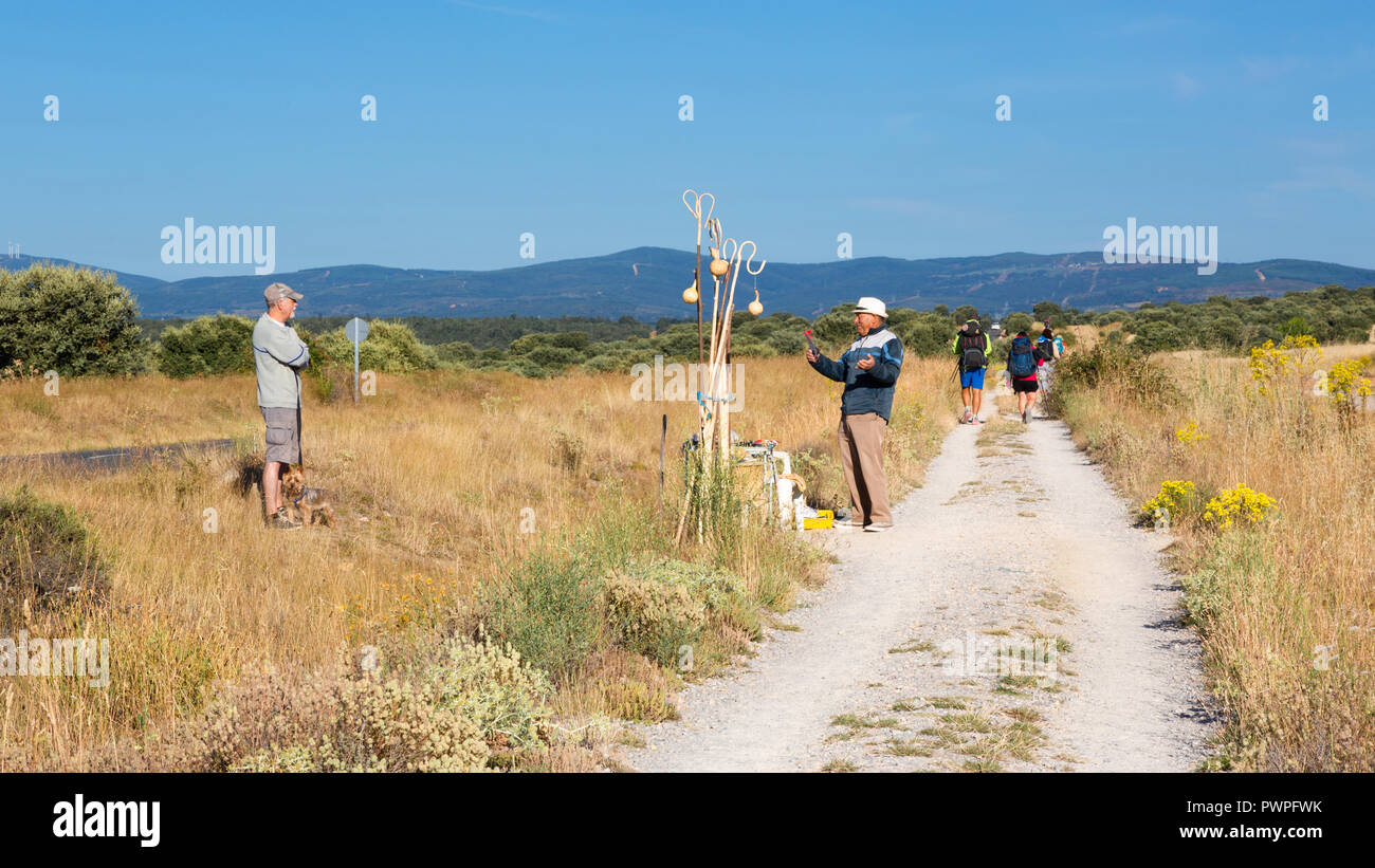 CAMINO DE SANTIAGO, SPAIN - AUGUST 10, 2018 - A seller of Bordon and Calabaza along the way of St.James, in the spanish meseta Stock Photo