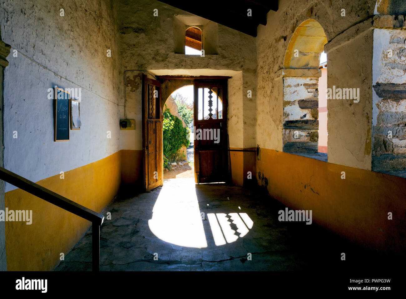 Camino de Santiago (Spain) - Church in El Ganso along the way of St.James, in the spanish meseta - Stock Image