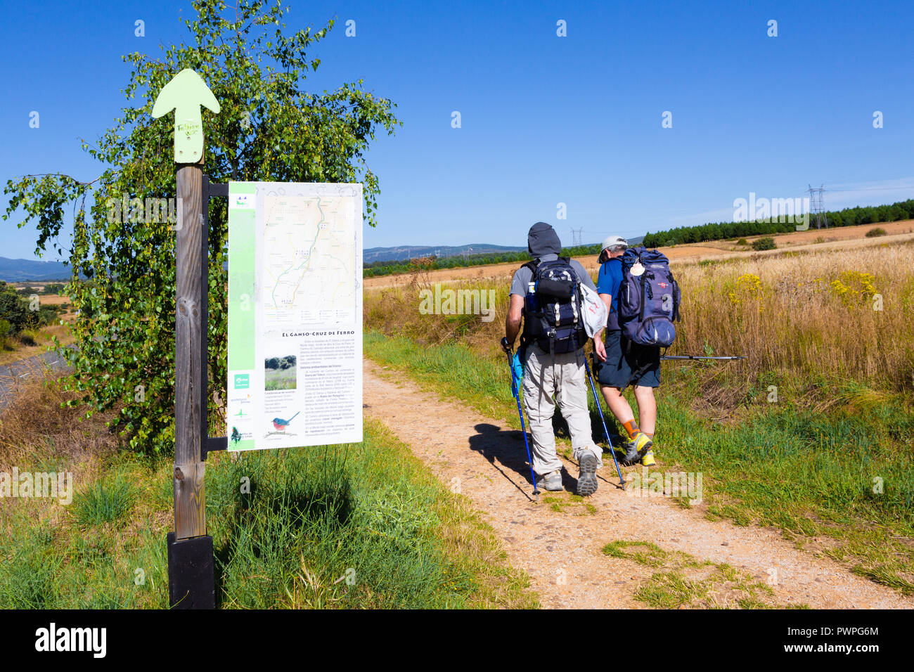 CAMINO DE SANTIAGO, SPAIN - AUGUST 10, 2018 - Pilgrims in El Ganso along the way of St.James, in the spanish meseta - Stock Image