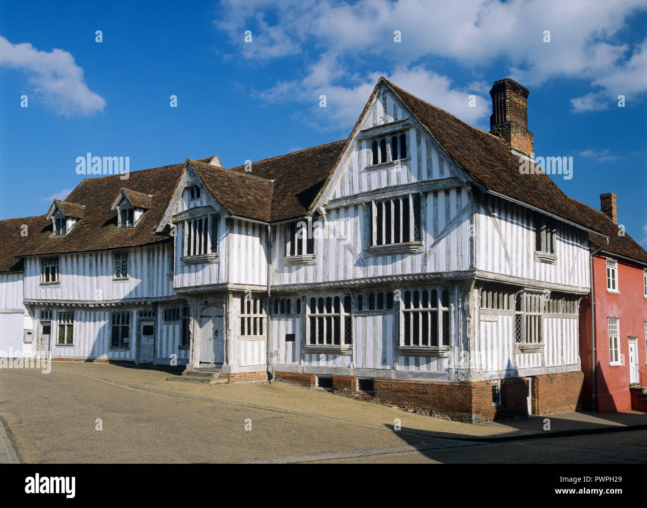 The Guildhall 16th century timber-framed building, Lavenham, Suffolk, England, United Kingdom, Europe - Stock Image