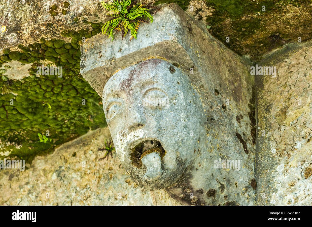 France, Gironde, vallée de l'Isle, Guïtres, Abbatiale Notre-Dame, tête d'homme tirant la langue, d'un modillon extérieur - Stock Image