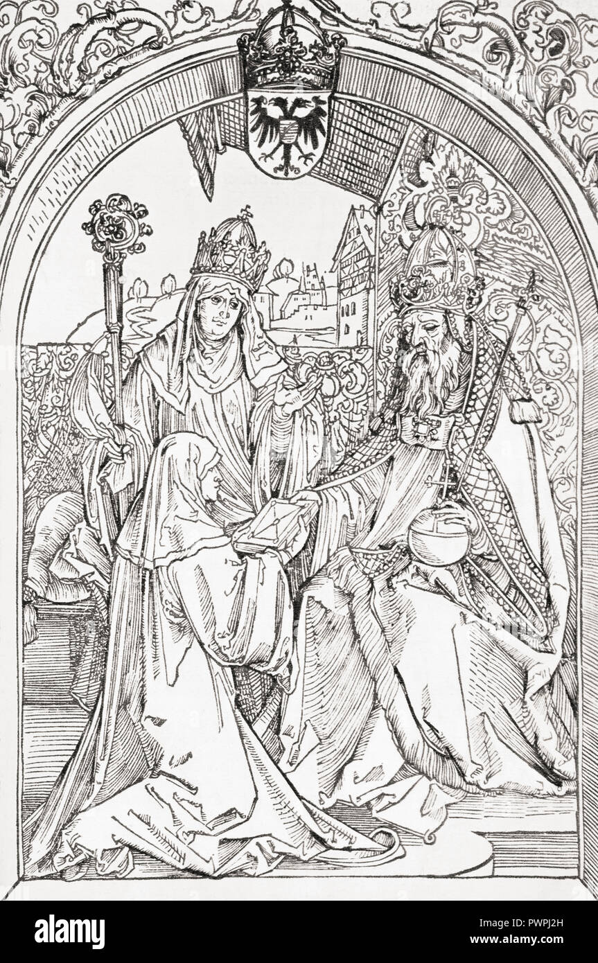Hrotsvit of Gandersheim presents an aged emperor Otto the Great with her Gesta Oddonis, under the eyes of Abbess Gerberga.  After a 1501 woodcut by Albrecht Dürer. Hrotsvitha of Gandersheim, c. 935 – after 973.  10th-century German secular canoness, dramatist and poetess who lived at Gandersheim Abbey. - Stock Image