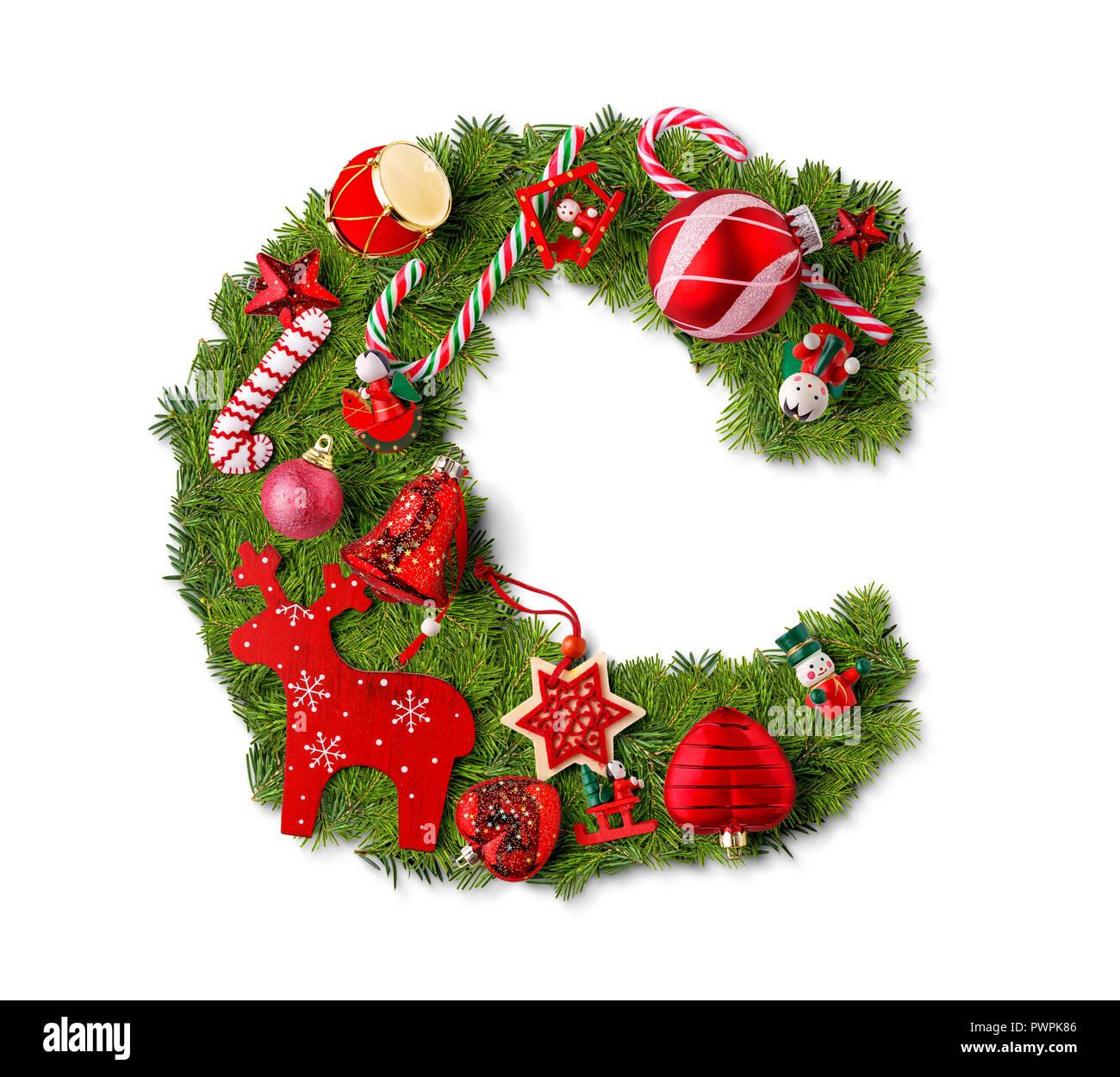 Christmas Alphabet.Christmas Alphabet Letter C Isolated On White Stock Photo