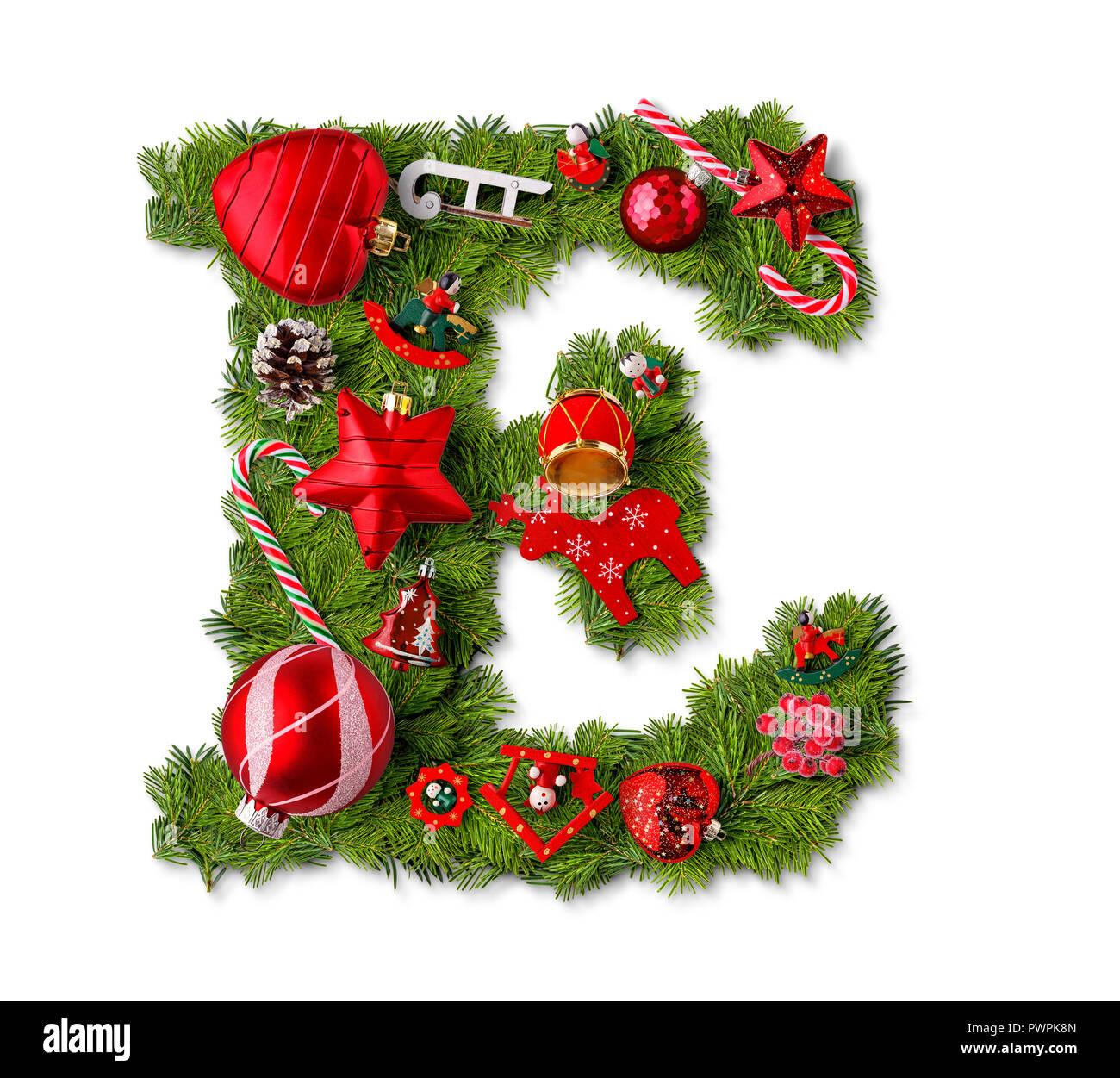 Christmas Alphabet.Christmas Alphabet Letter E Isolated On White Stock Photo