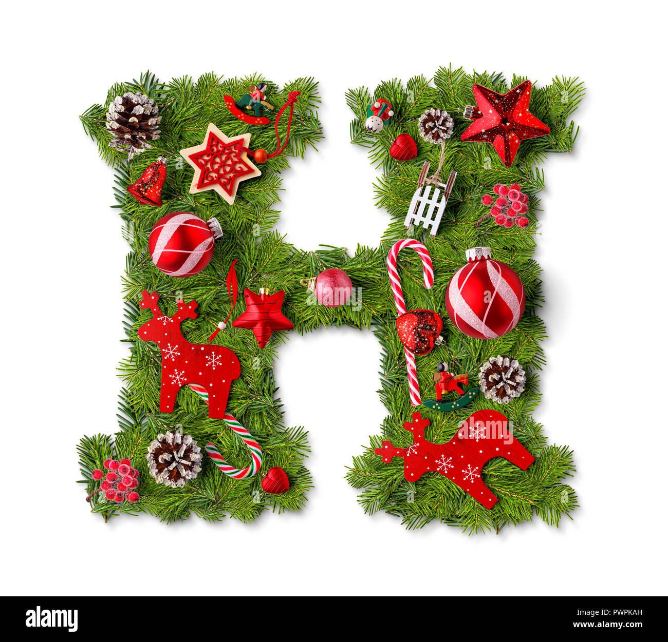 Christmas Alphabet.Christmas Alphabet Letter H Isolated On White Stock Photo