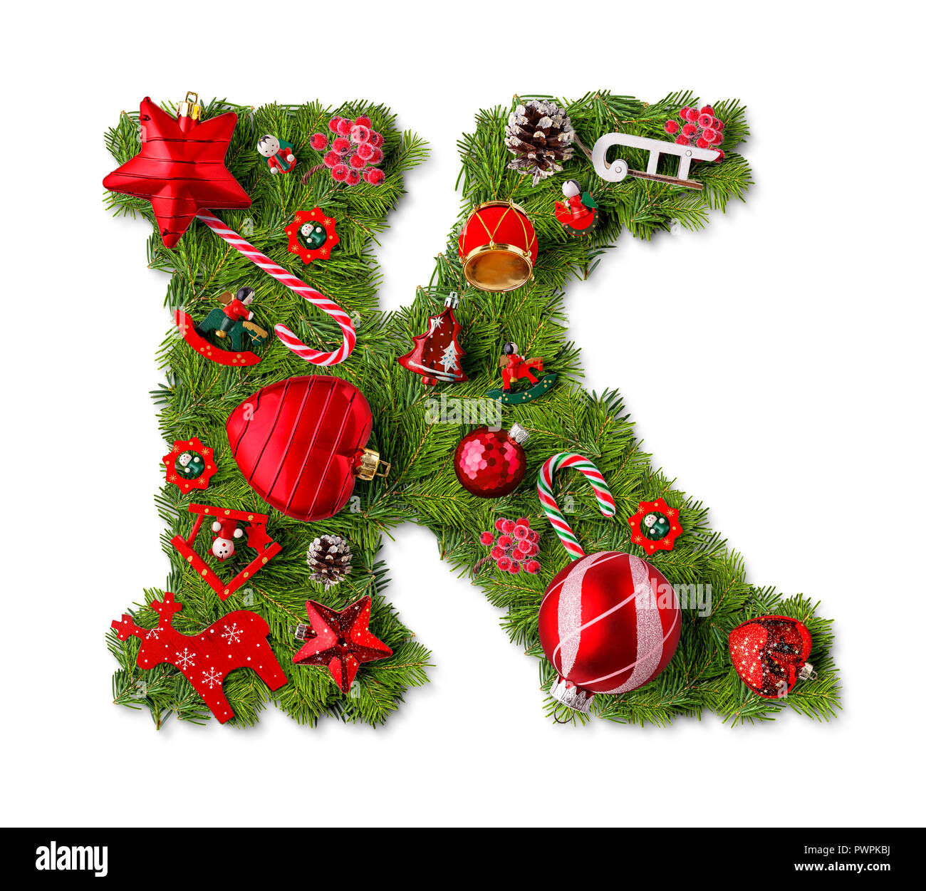 Christmas alphabet letter K isolated on white - Stock Image