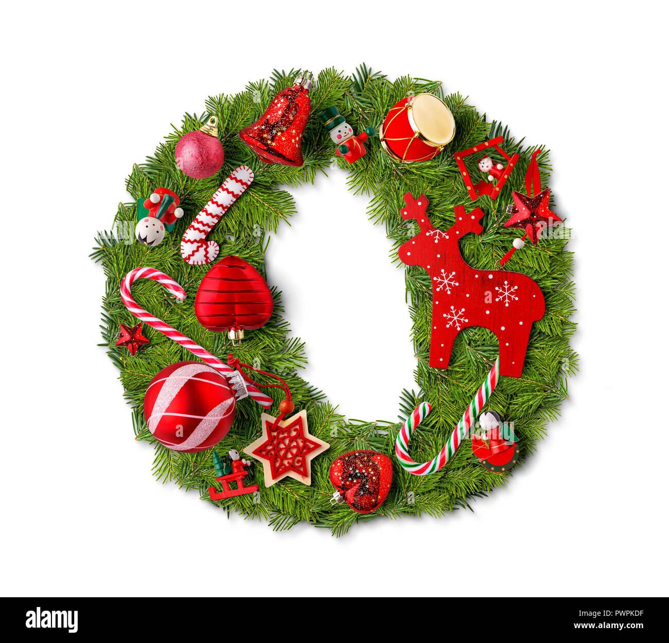 Christmas Alphabet.Christmas Alphabet Letter O Isolated On White Stock Photo