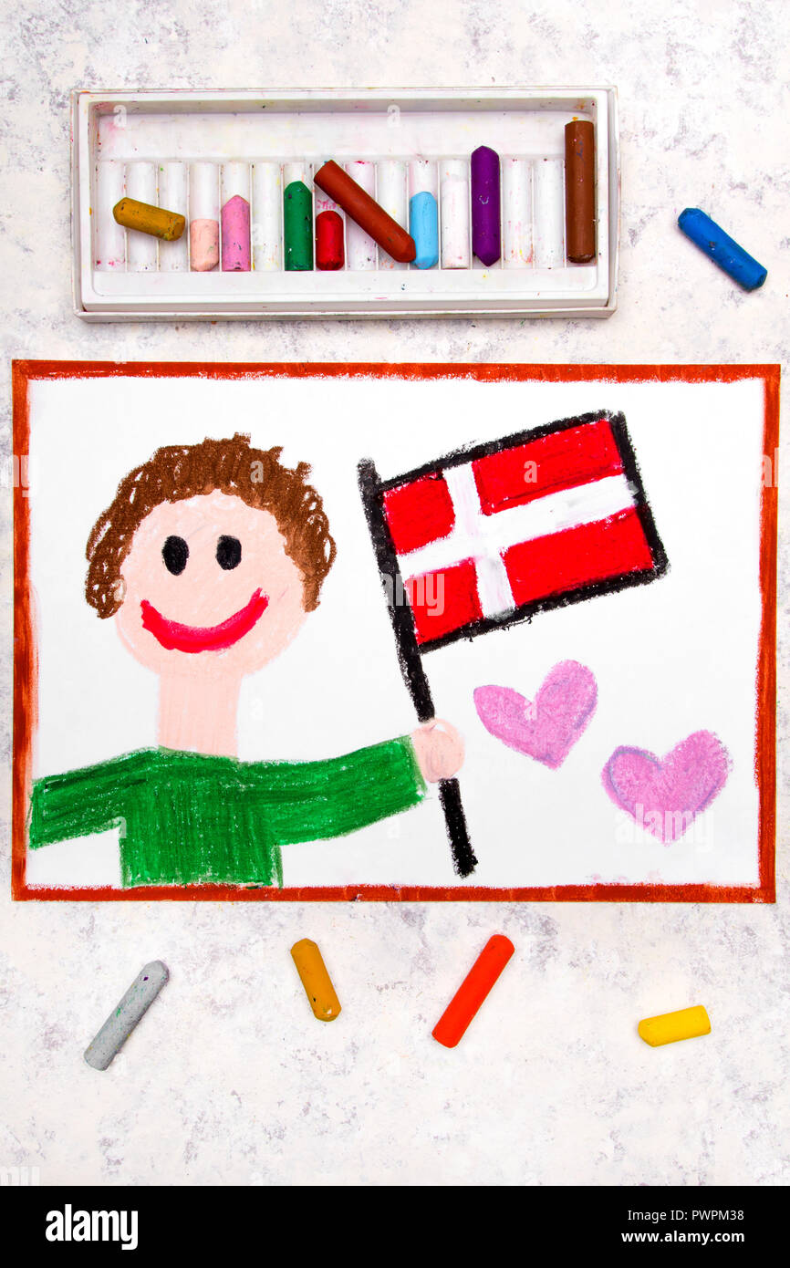Colorful drawing: Happy man holding flag Danish flag. Flag of Denmark and smiling boy - Stock Image