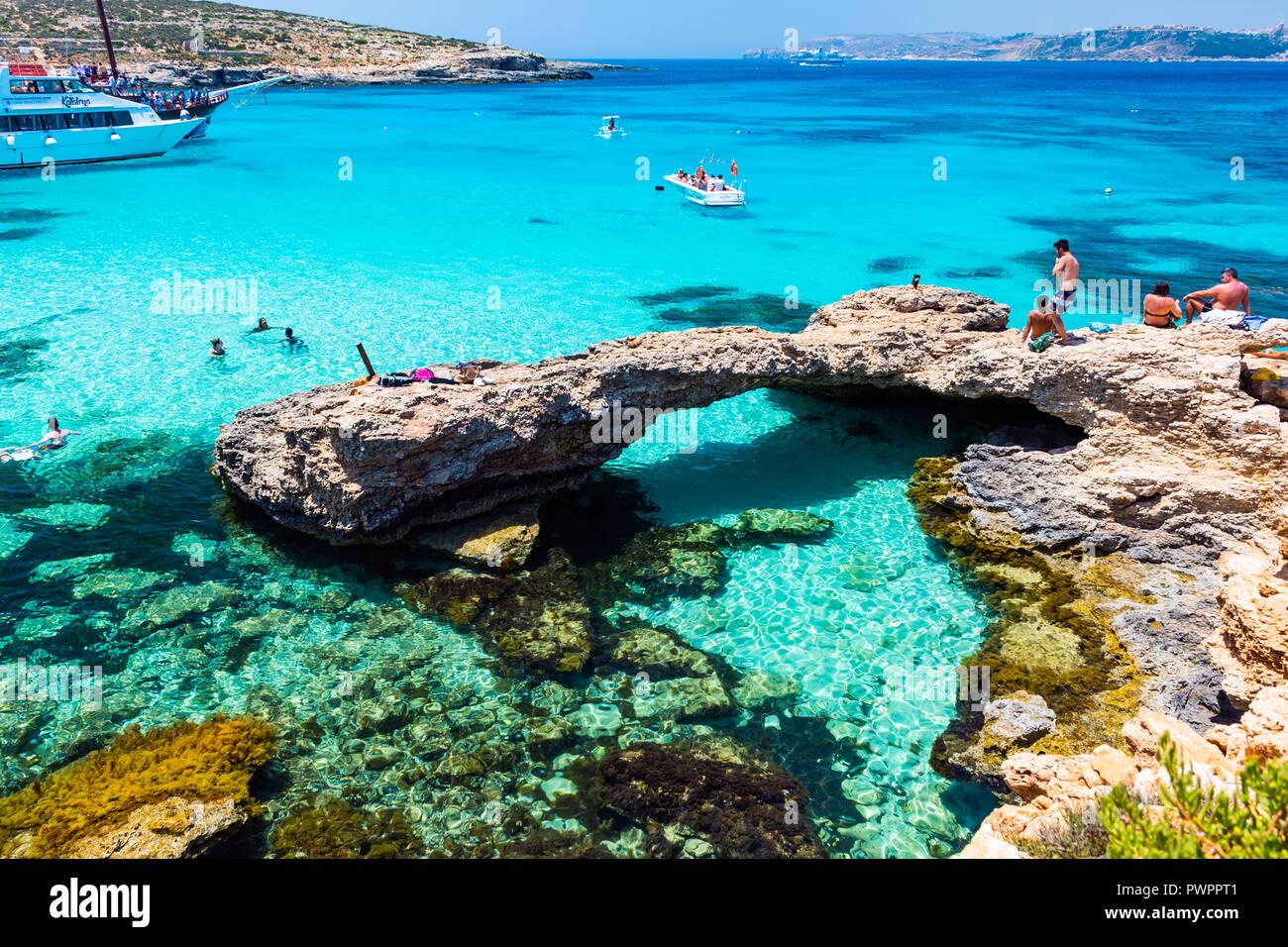 View On Blue Lagoon Bay Comino Island Malta Stock Photo