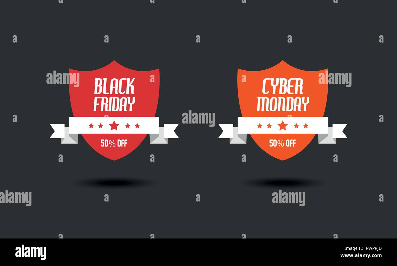 black friday cyber monday sale sign design templates stock vector