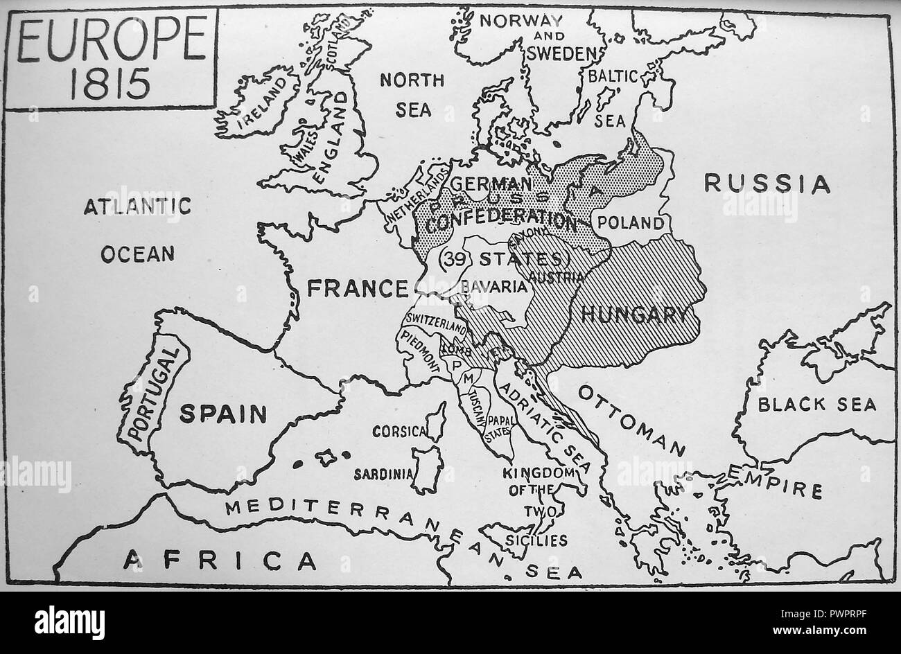 An early printed map of Europe in 1815 Stock Photo: 222392423 - Alamy
