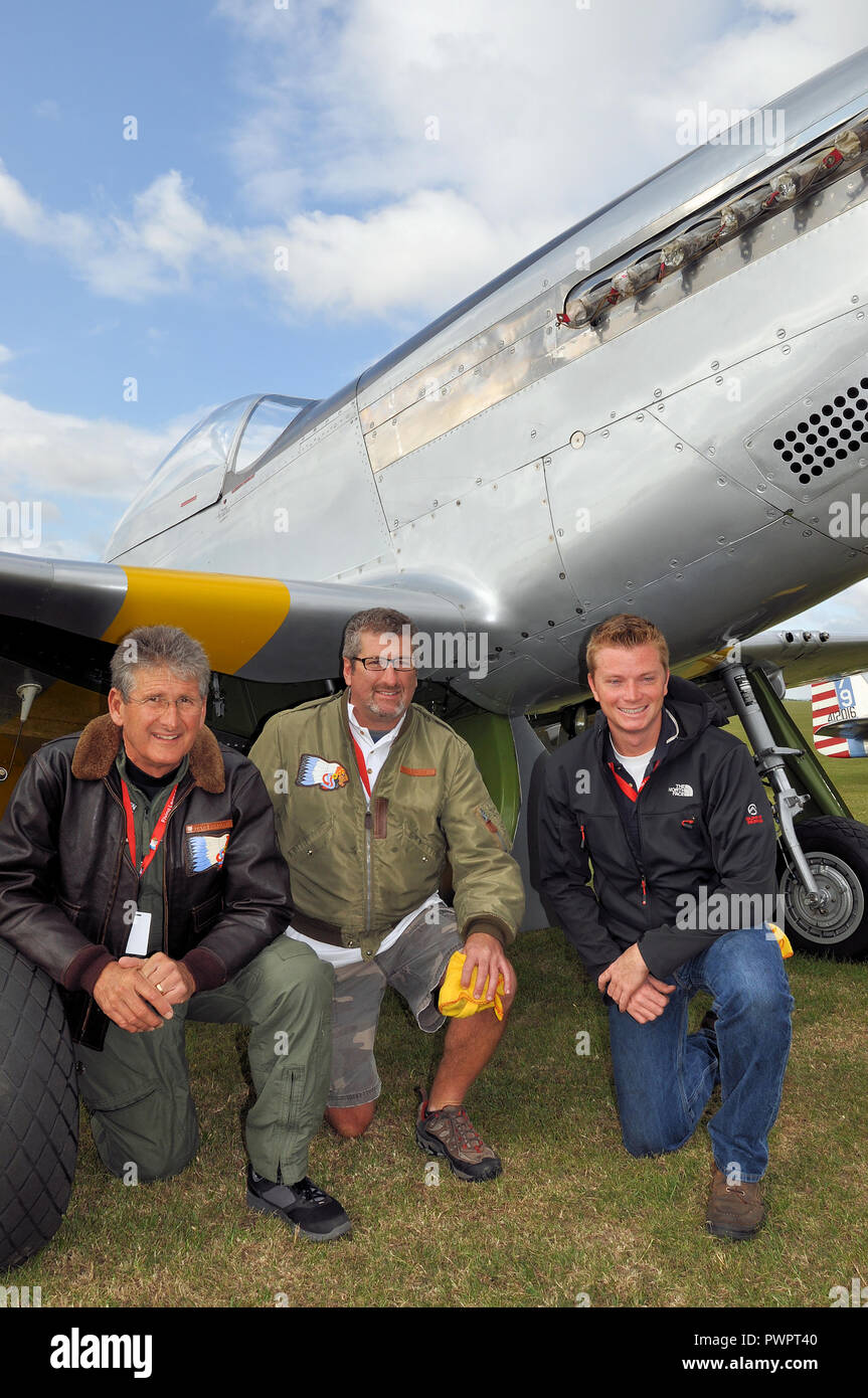 Steve Hinton, Hinton and Steven Hinton Jr pilots and operators of Second World War fighter planes such as north American P-51 Mustang. Planes of Fame - Stock Image