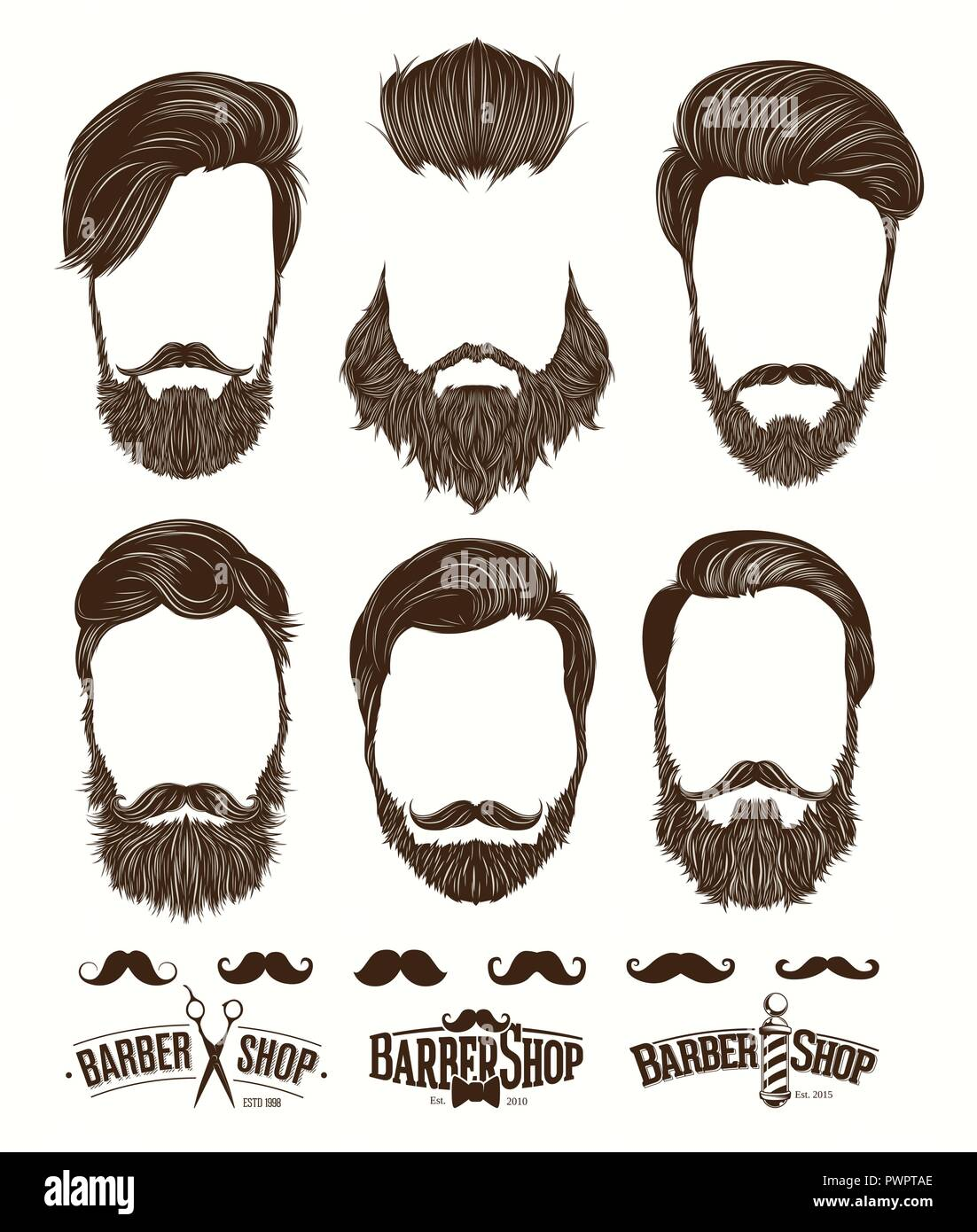 hairstyle and beard hipster fashion barbershop emblems set vector