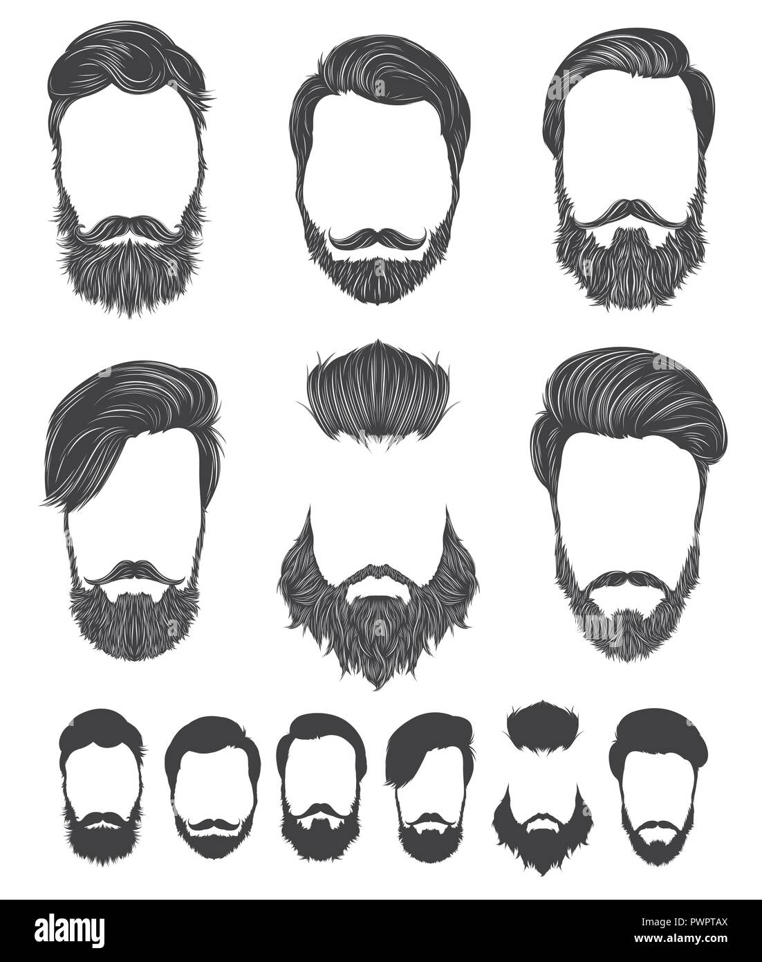 hairstyle and beard hipster fashion set vector illustrations