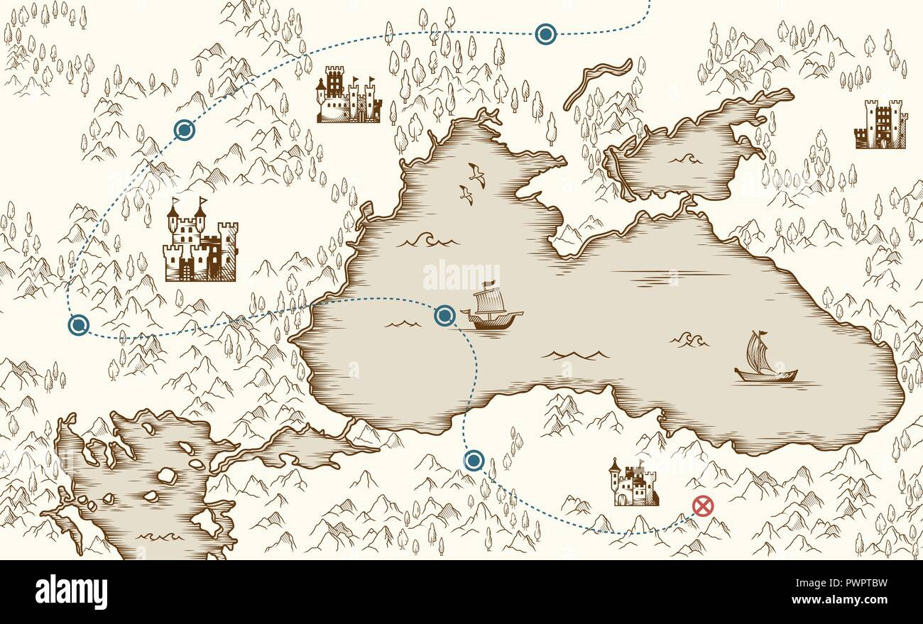 Medieval Cartography Old Pirate Treasure Map Vector Illustration Template For Your Design
