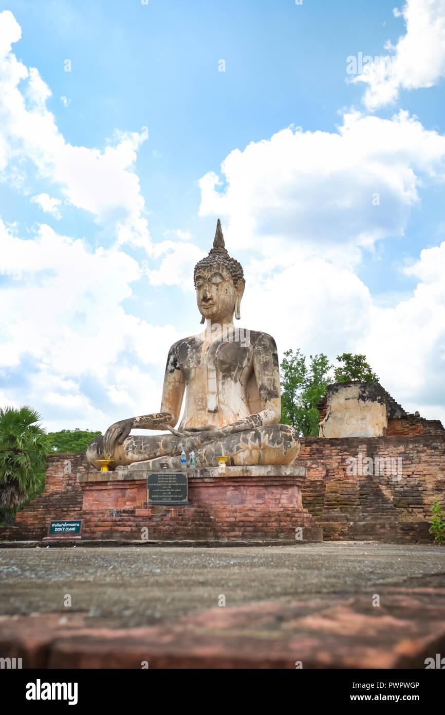 Ancient Buddha in Wat Mae Chon, Sukhothai Province, Thailand. - Stock Image