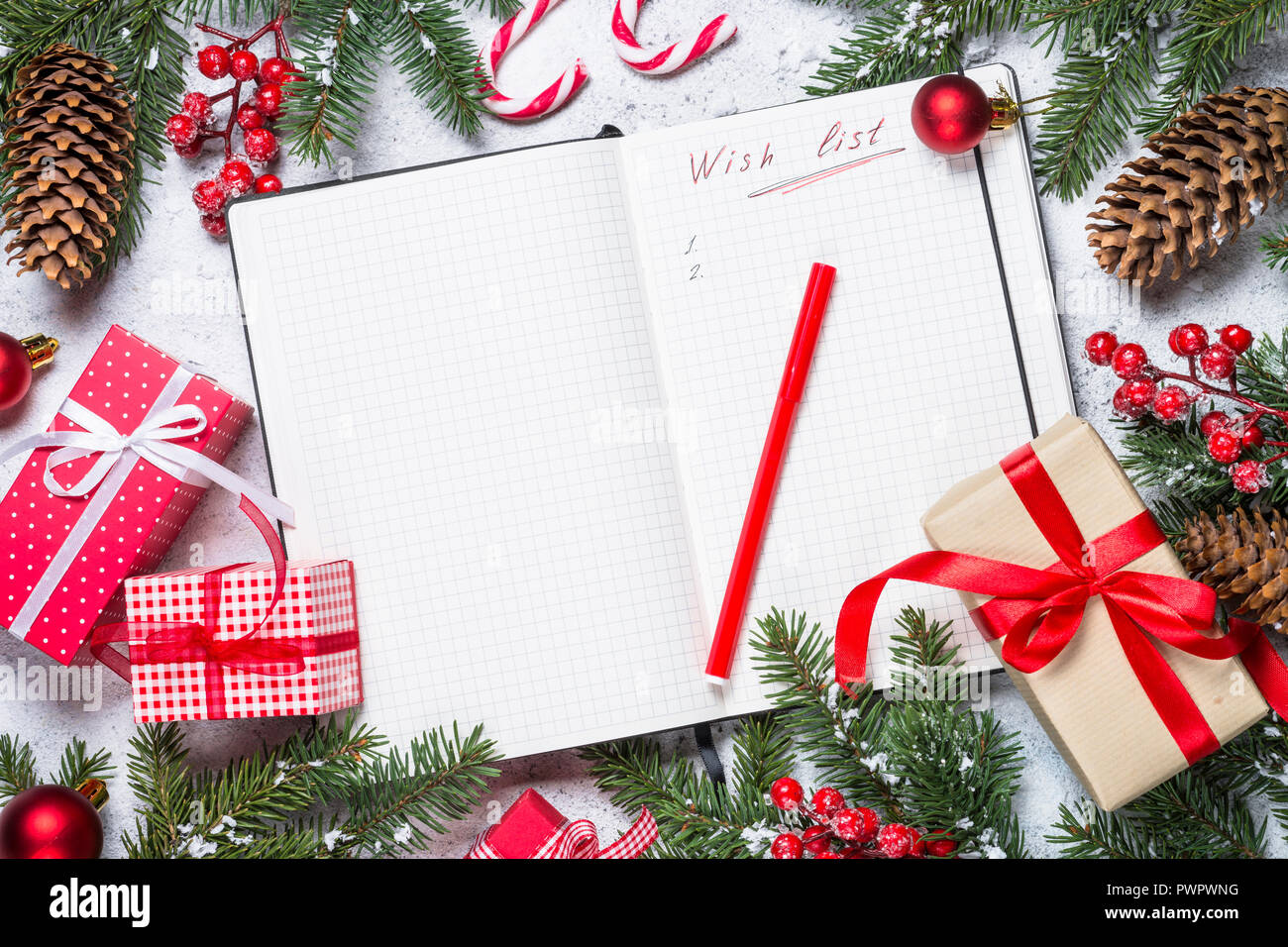 Wish list for christmas with christmas decorations - Stock Image