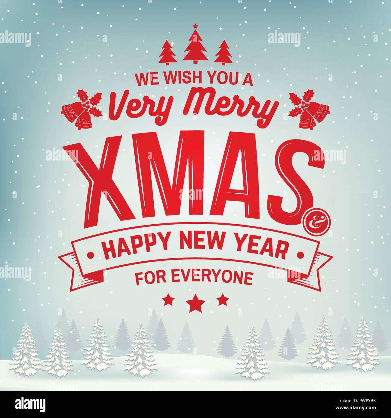 we wish you a very merry christmas and happy new year stamp sticker set with holly berry christmas tree bell vector illustration