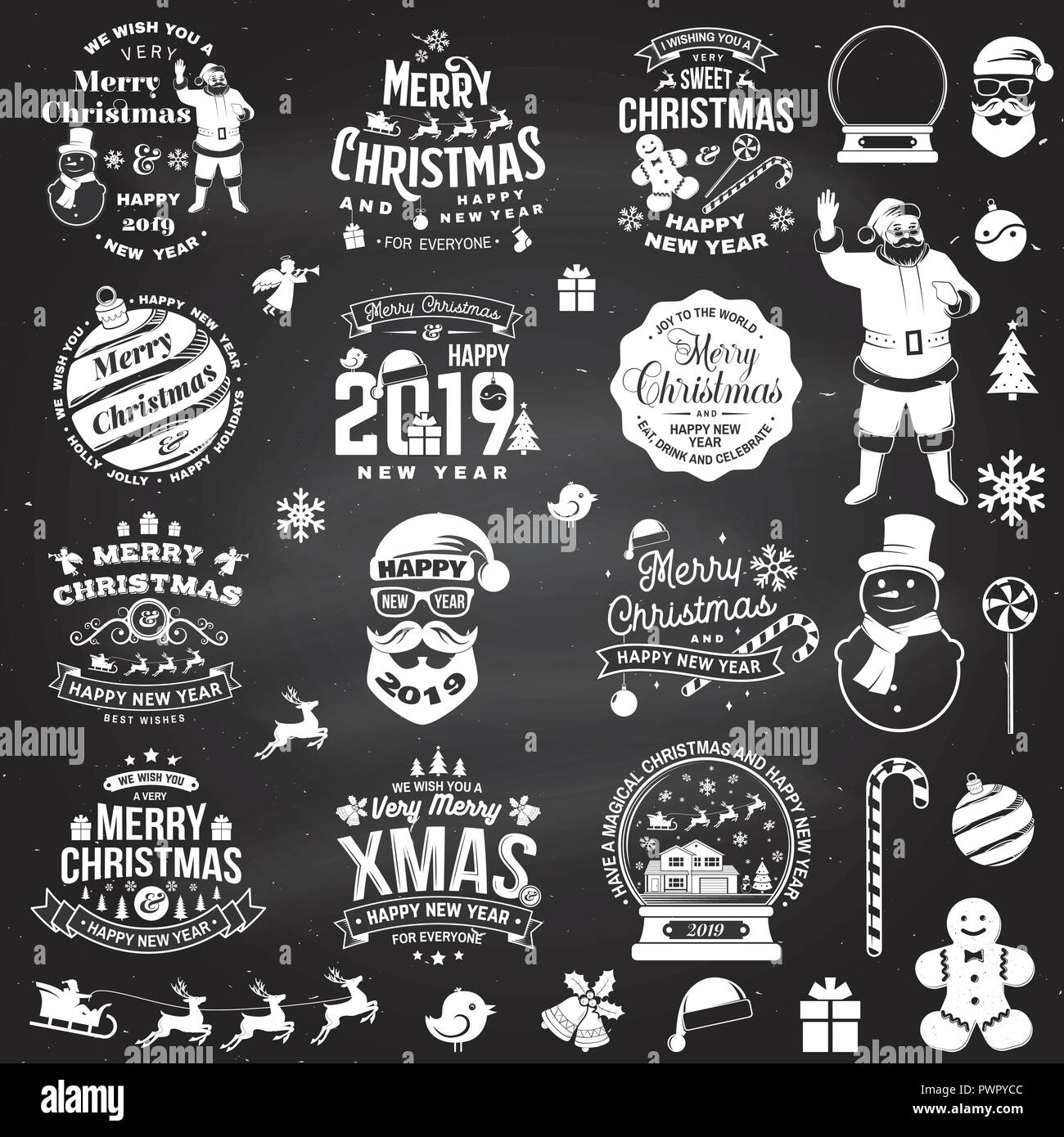 set of merry christmas and 2019 happy new year stamp sticker set quotes with snowflakes snowman santa claus candy sweet candy cookies vector