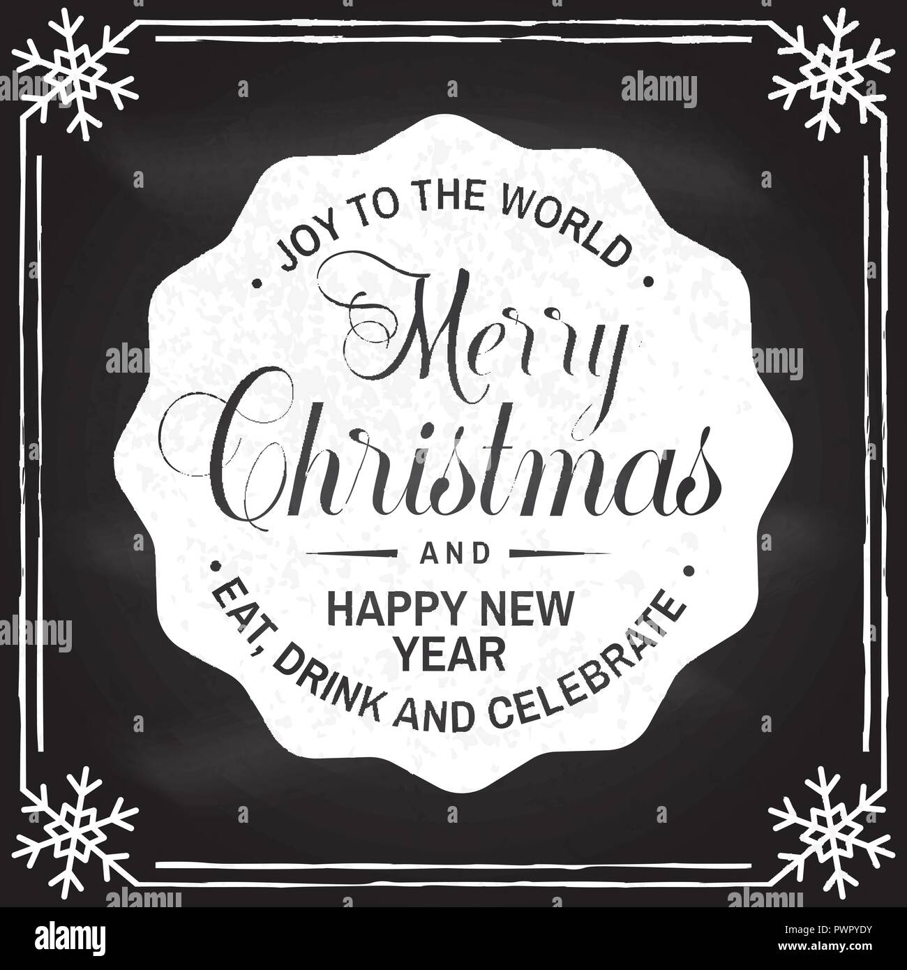 Merry Christmas And Happy New Year Stamp Sticker Vector Illustration Vintage Typography Design For Xmas New Year Emblem In Retro Style Coaster For Beer
