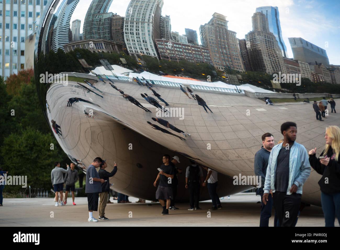 The Bean - Cloud Gate - Millennium Park - Chicago, IL - Stock Image