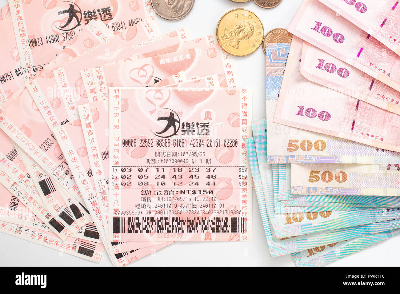 Taipei, Taiwan - 7 Oct 2018: Closeup of Taiwanese currency