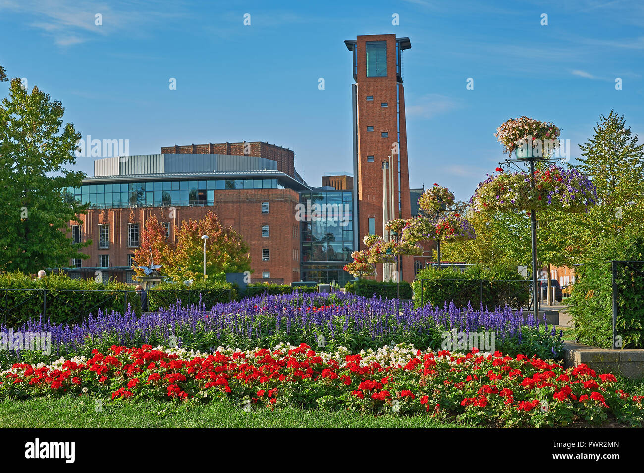 Stratford upon Avon and the Royal Shakespeare Theatre viewed from across Bancroft Gardens early in the morning Stock Photo