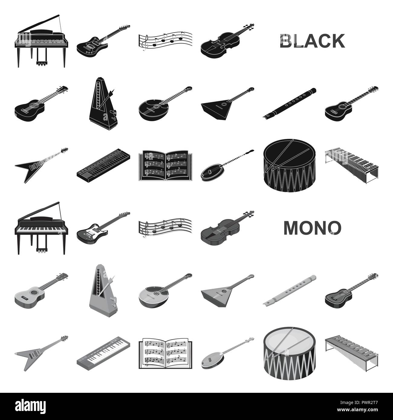 Musical instrument black icons in set collection for design. String and Wind instrument isometric vector symbol stock illustration. - Stock Image