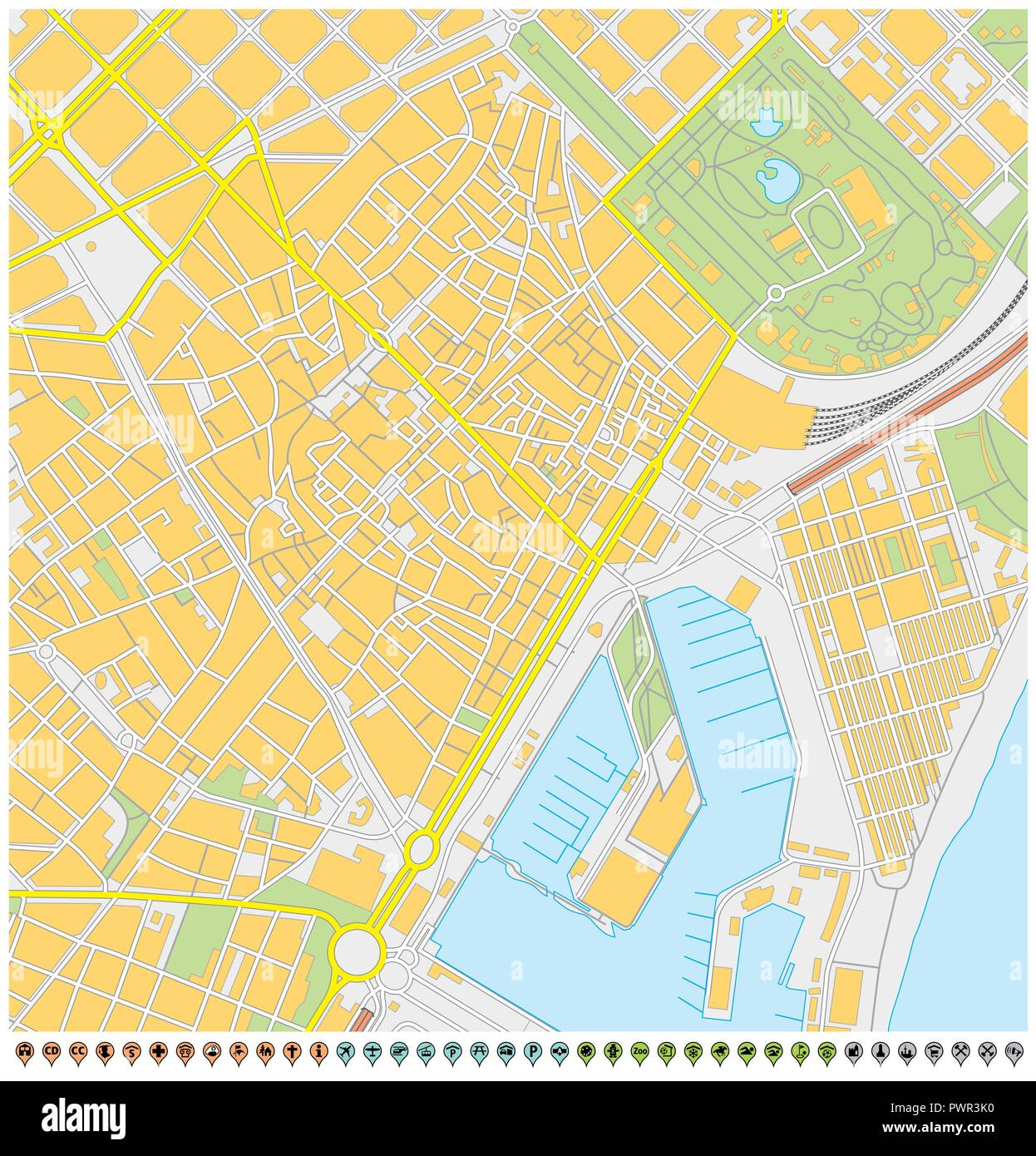 barcelona city map with pin pointers and infrastructure icons. - Stock Vector