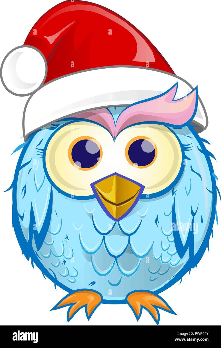christmas owl  cartoon isolated on white background - Stock Image